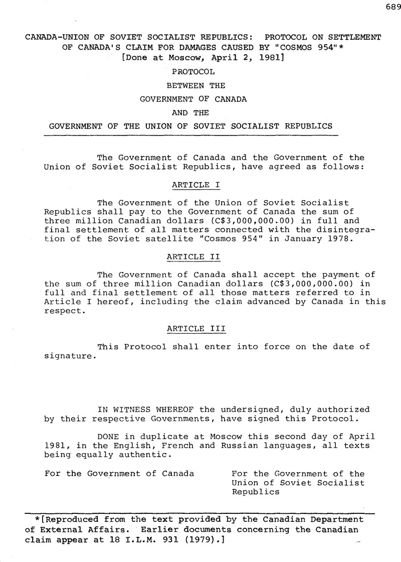 Canada-Union of Soviet Socialist Republics: Protocol on
