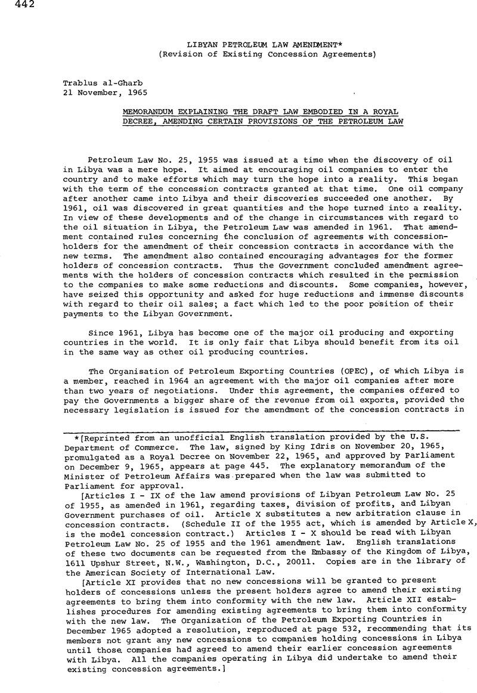 Libyan Petroleum Law Amendment* | International Legal