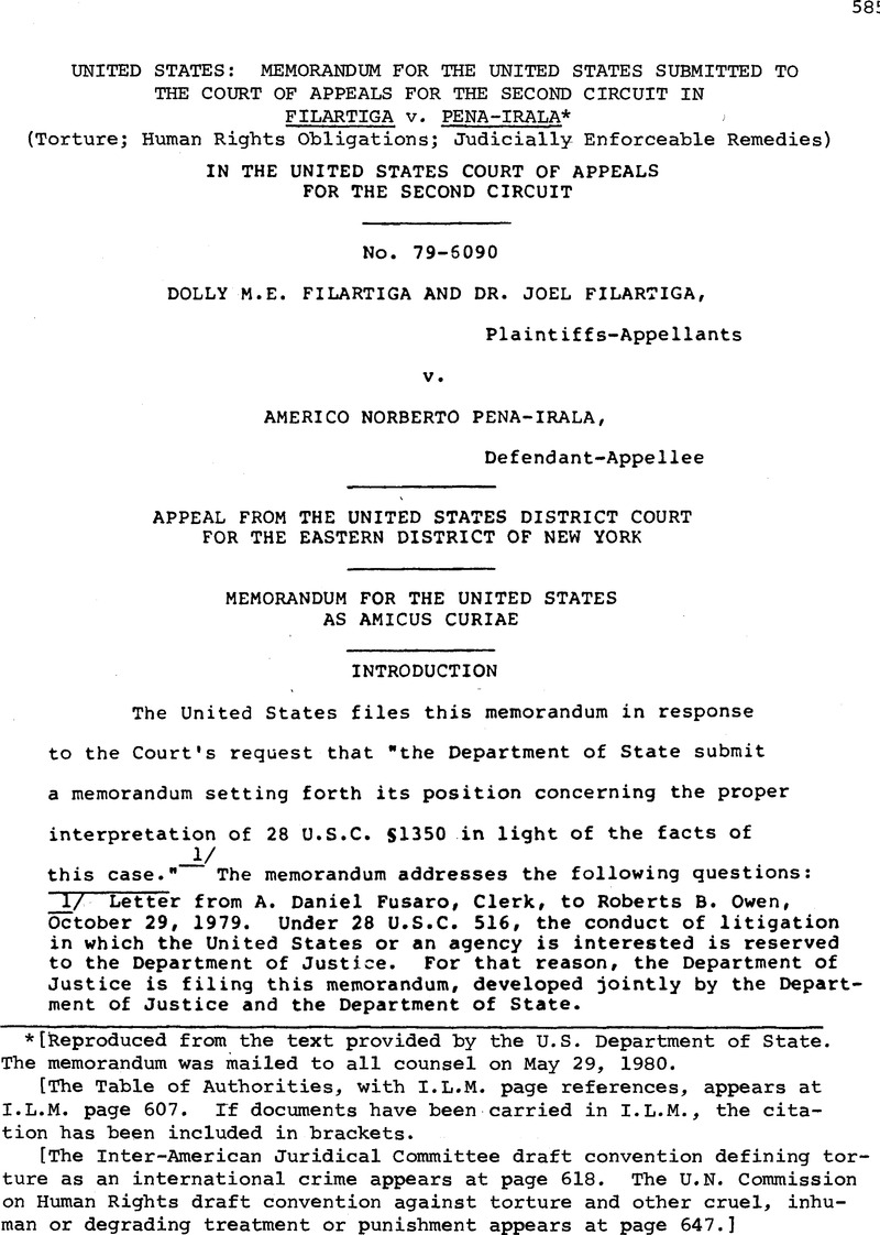 United States Memorandum For The Submitted To 2nd Circuit Court Of Appeals Second In Filartiga V Pena Irala