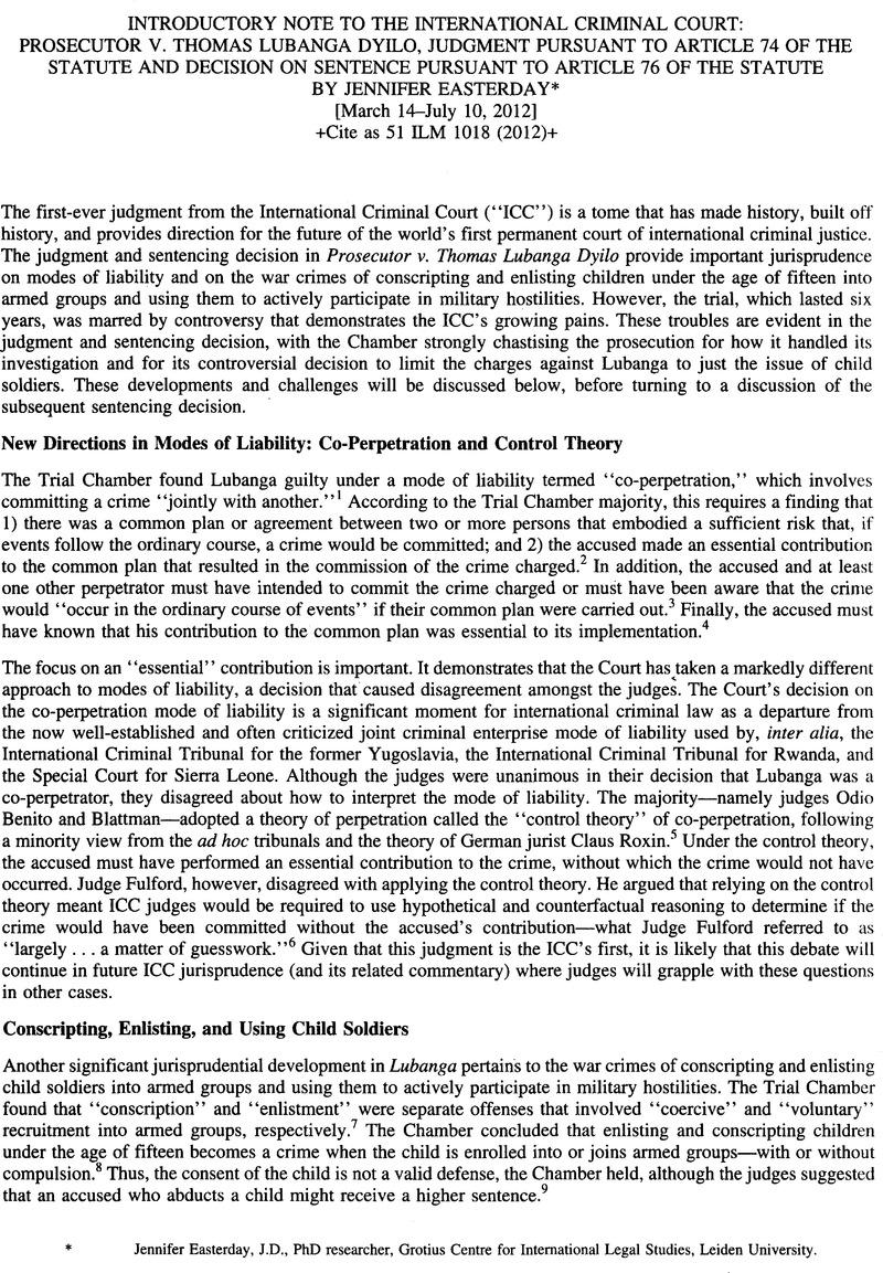The International Criminal Court: Prosecutor v. Thomas Lubanga Dyilo ...