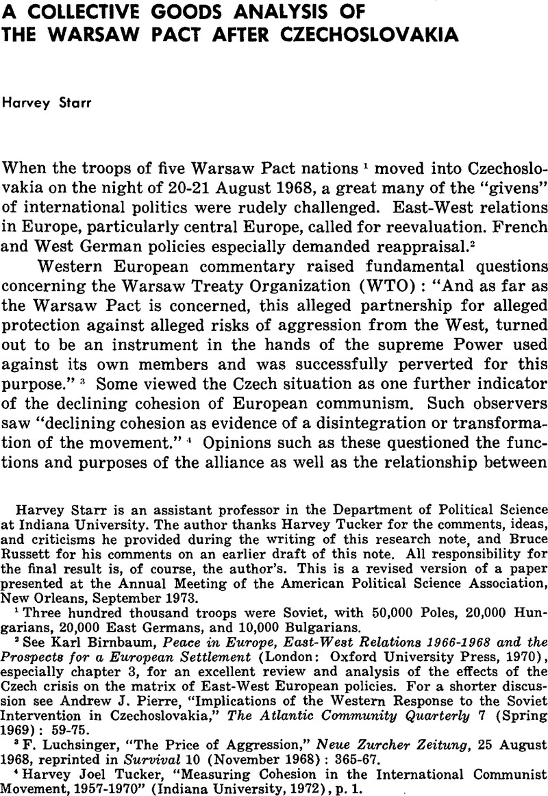 A Collective Goods Analysis Of The Warsaw Pact After Czechoslovakia