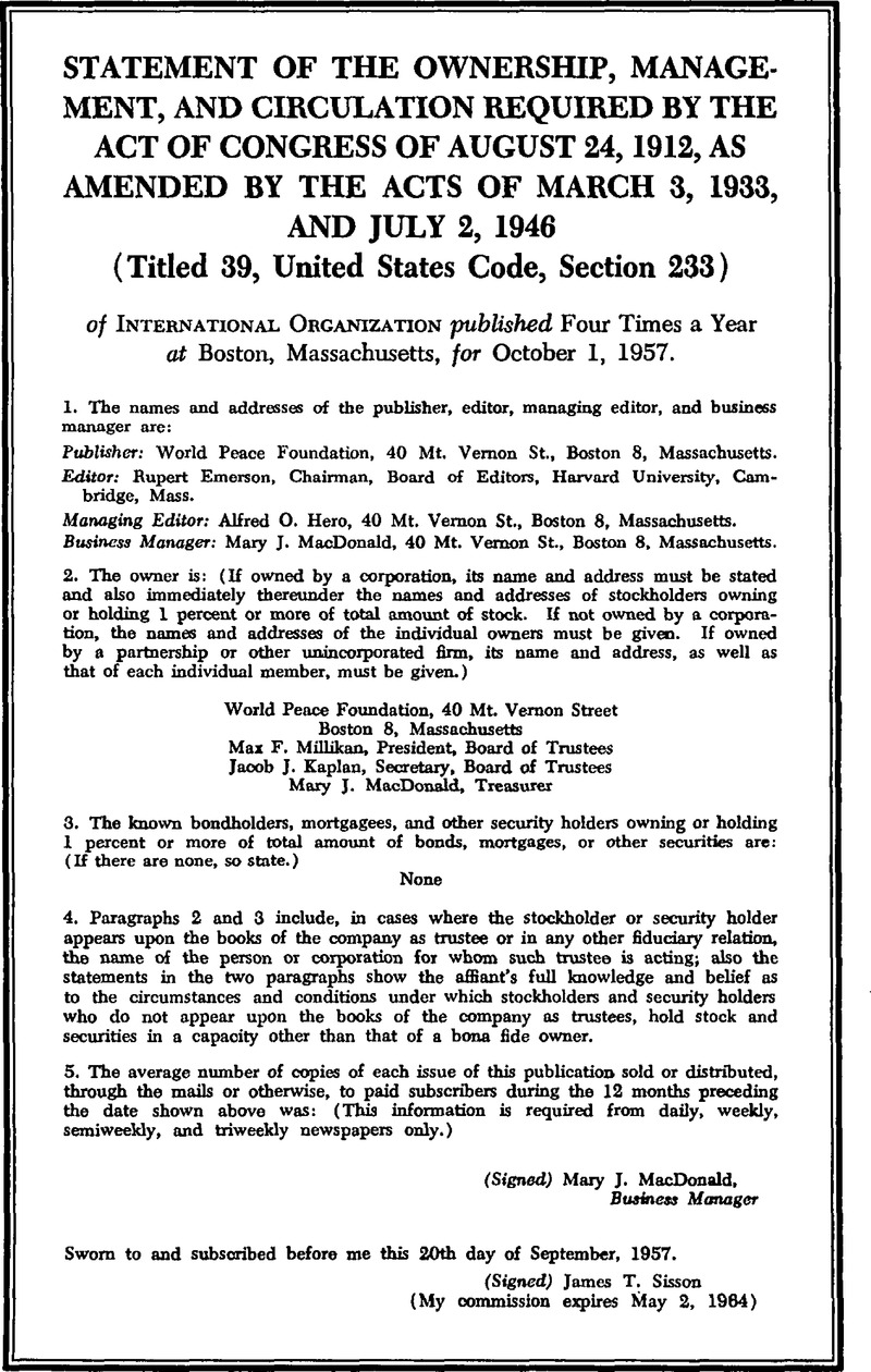 Ino Volume 12 Issue 1 Back Matter International Organization Cambridge Core