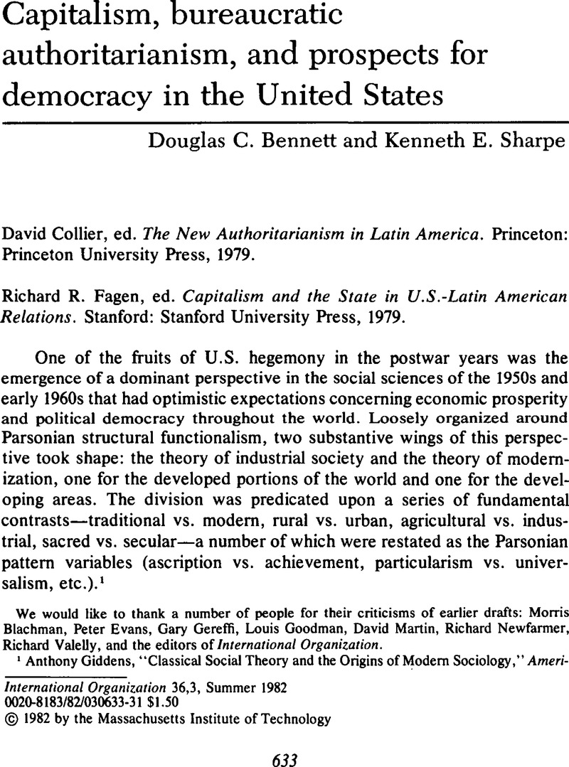 Capitalism, bureaucratic authoritarianism, and prospects for