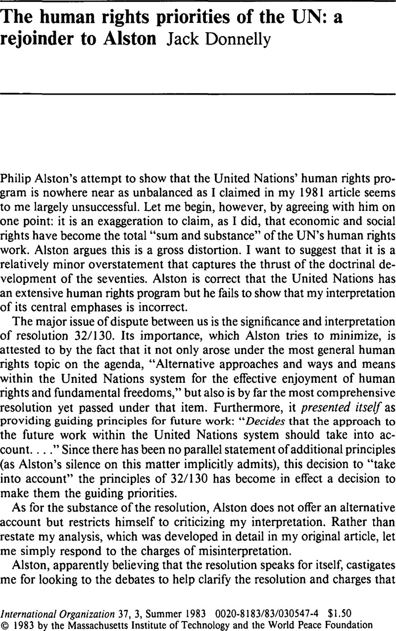 The human rights priorities of the UN: a rejoinder to Alston