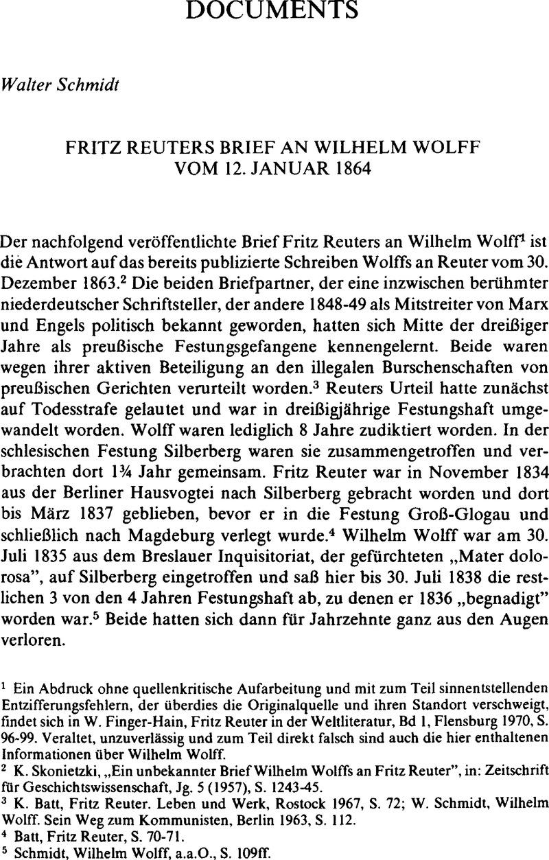 Fritz Reuters Brief An Wilhelm Wolff Vom 12 Januar 1864
