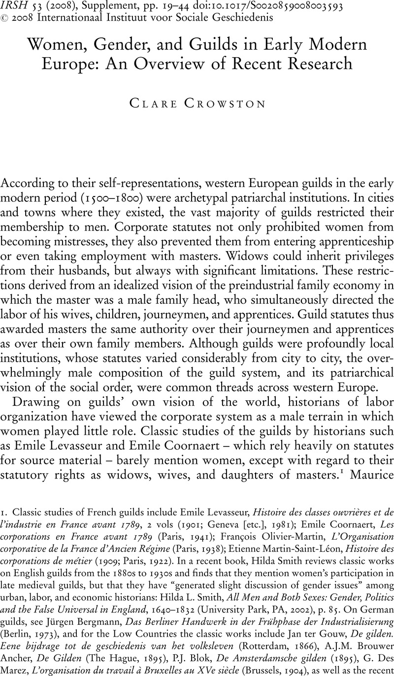 Power and Representation Craft Guilds in the Early Modern Low Countries Work