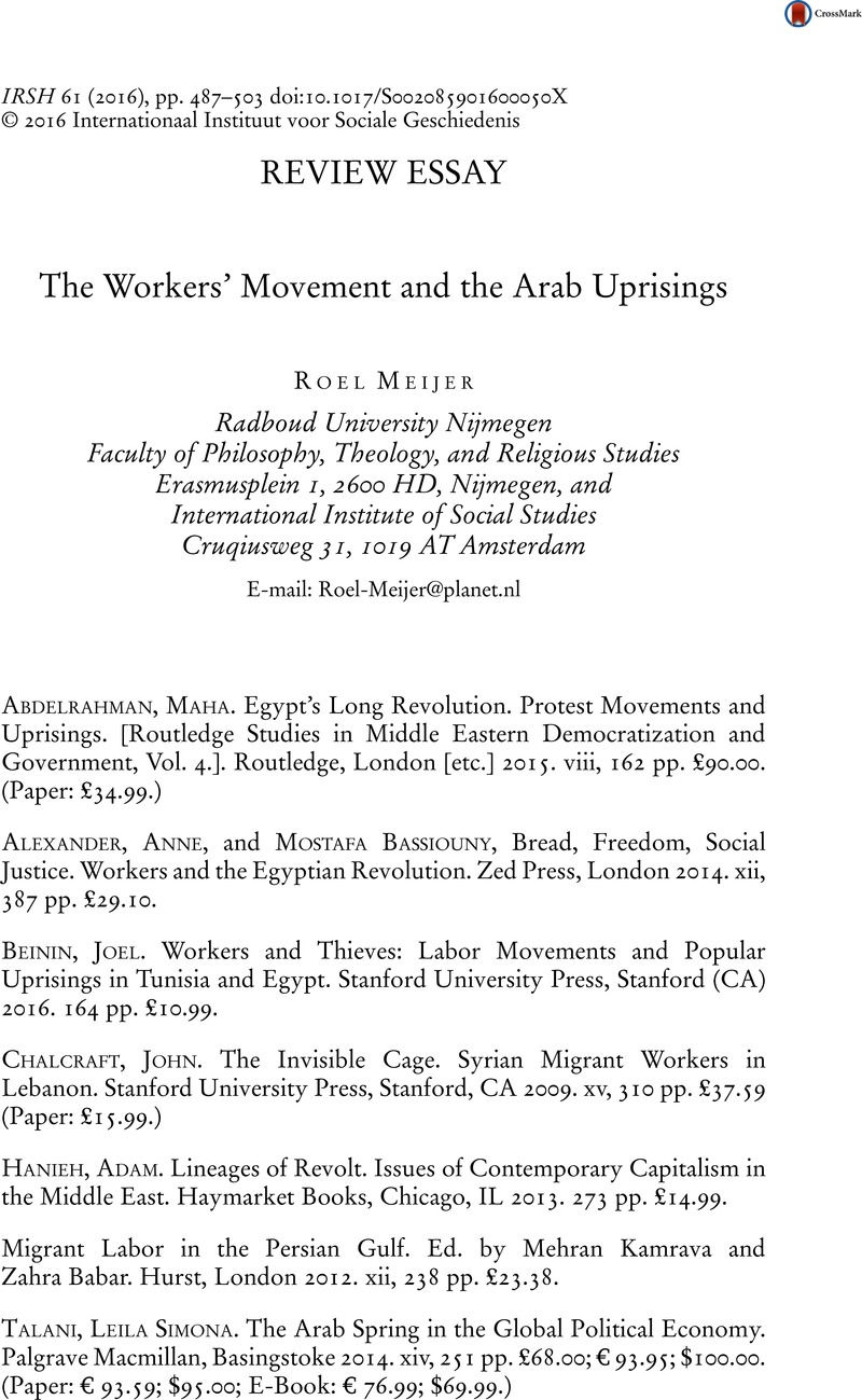 The Workers\' Movement and the Arab Uprisings | International Review ...