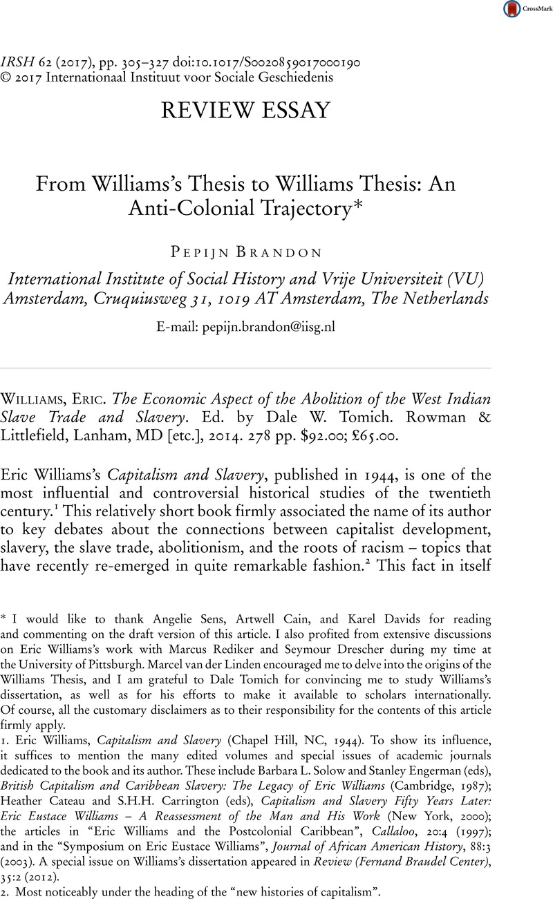 from williams s thesis to williams thesis an anti colonial  from williams s thesis to williams thesis an anti colonial trajectory