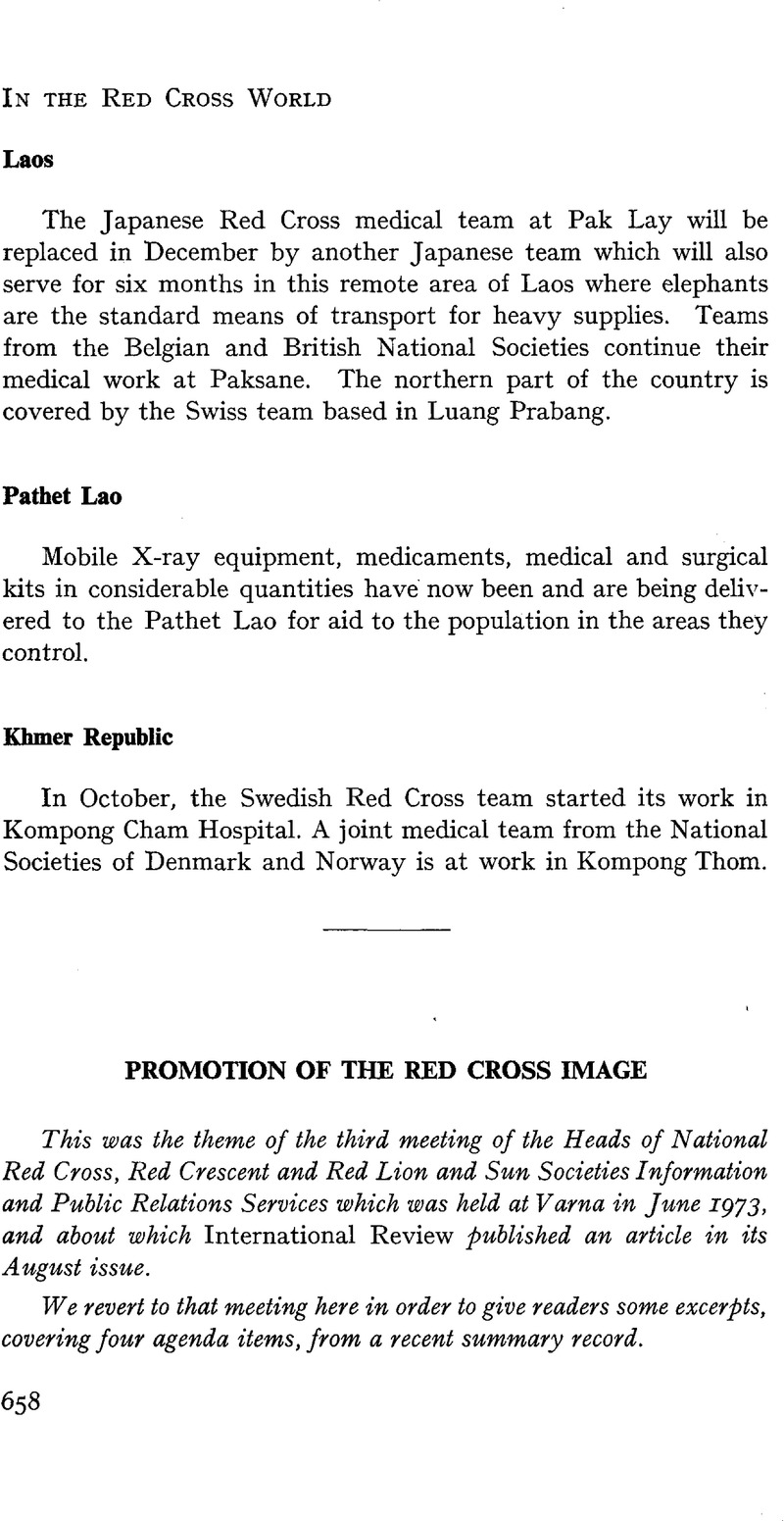 Promotion of the Red Cross Image   International Review of