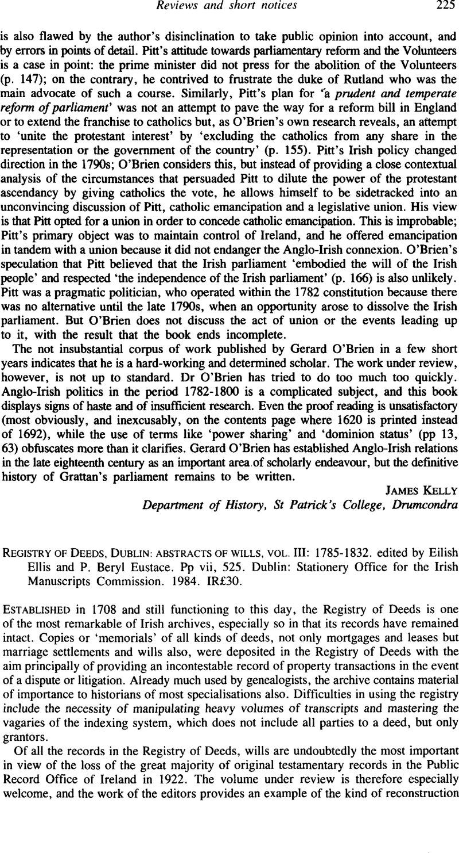 Registry of Deeds, Dublin: abstracts of wills, vol  III