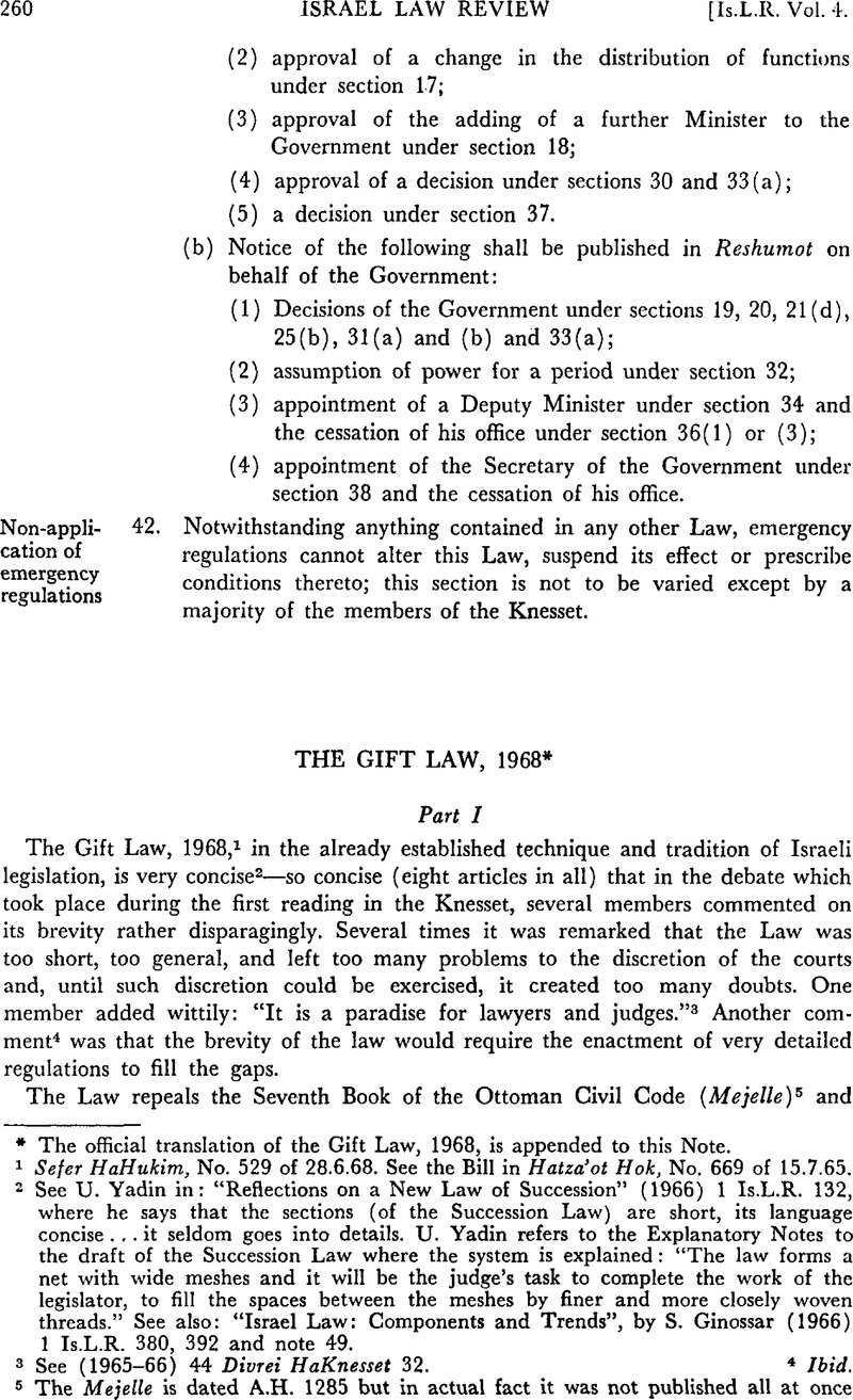 The Gift Law 1968 Israel Law Review Cambridge Core