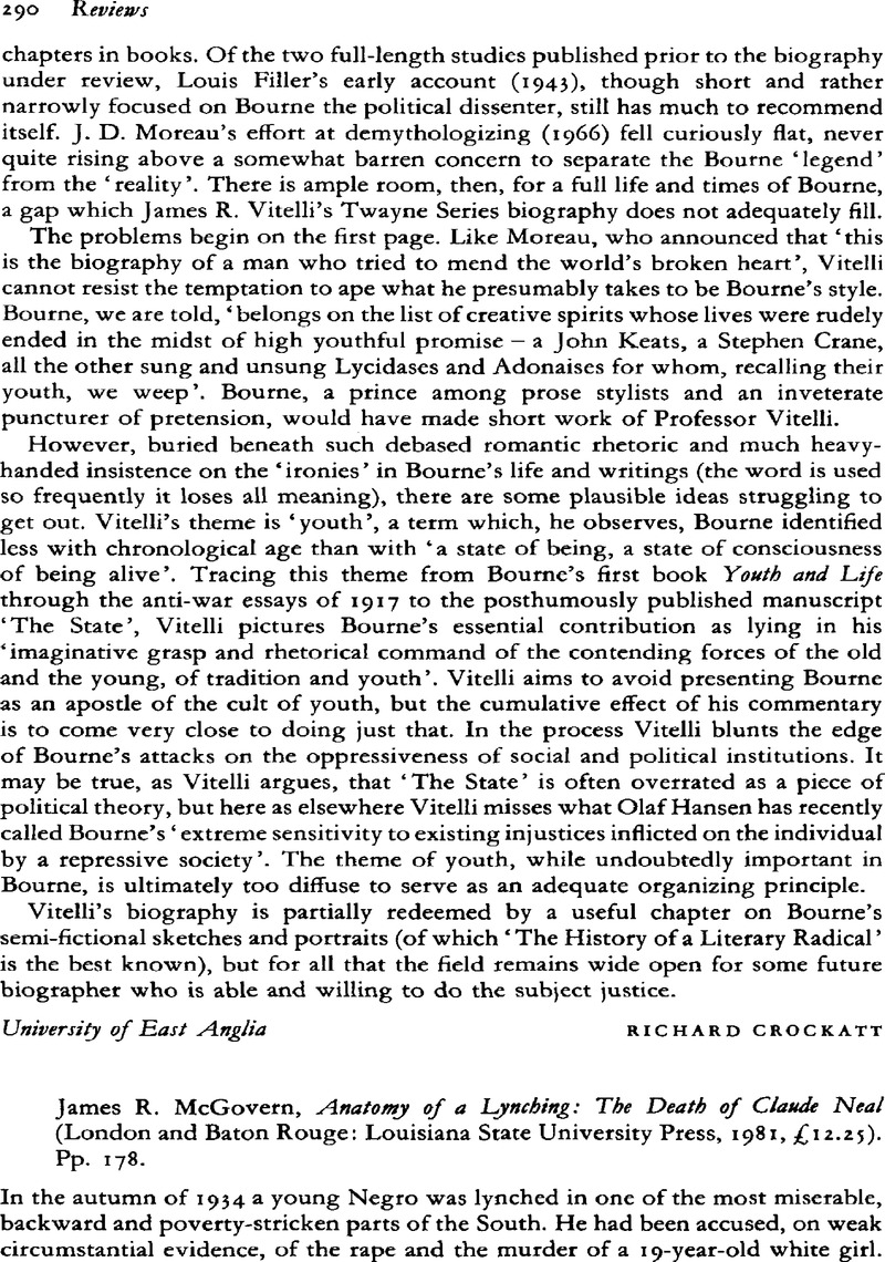 James R. McGovern, Anatomy of a Lynching: The Death of Claude Neal ...