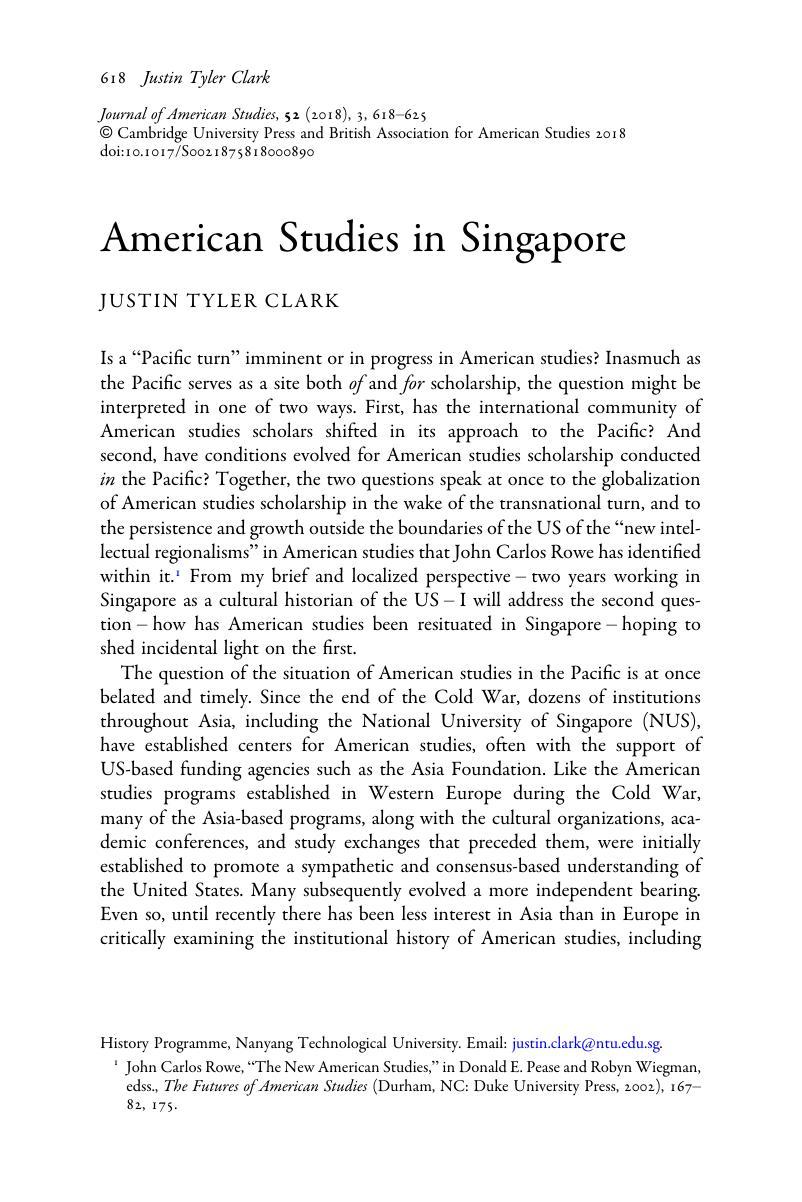 American Studies in Singapore   Journal of American Studies