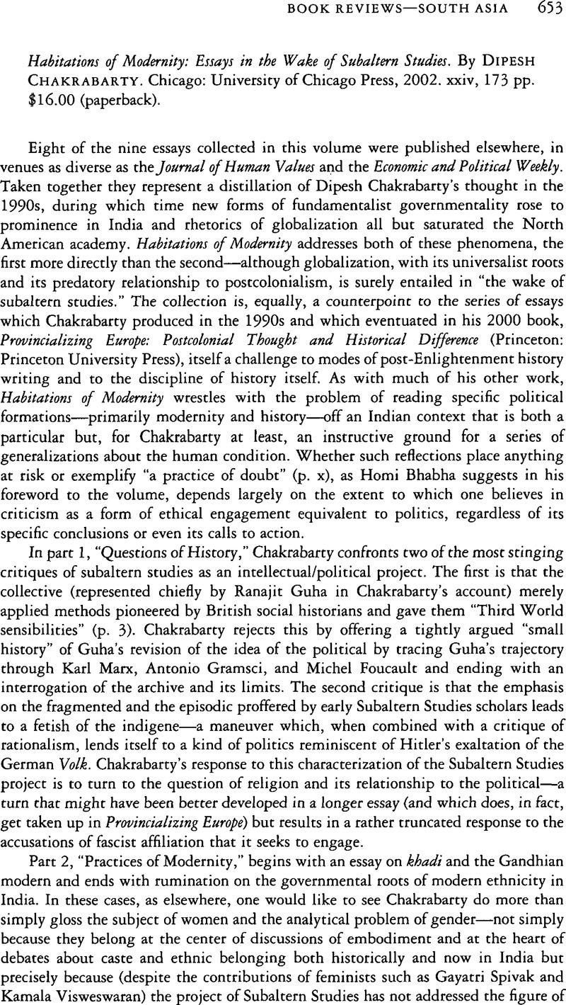 essay in study subaltern wake Amazoncom: habitations of modernity: essays in the wake of subaltern studies (8580000630831): dipesh chakrabarty: books.