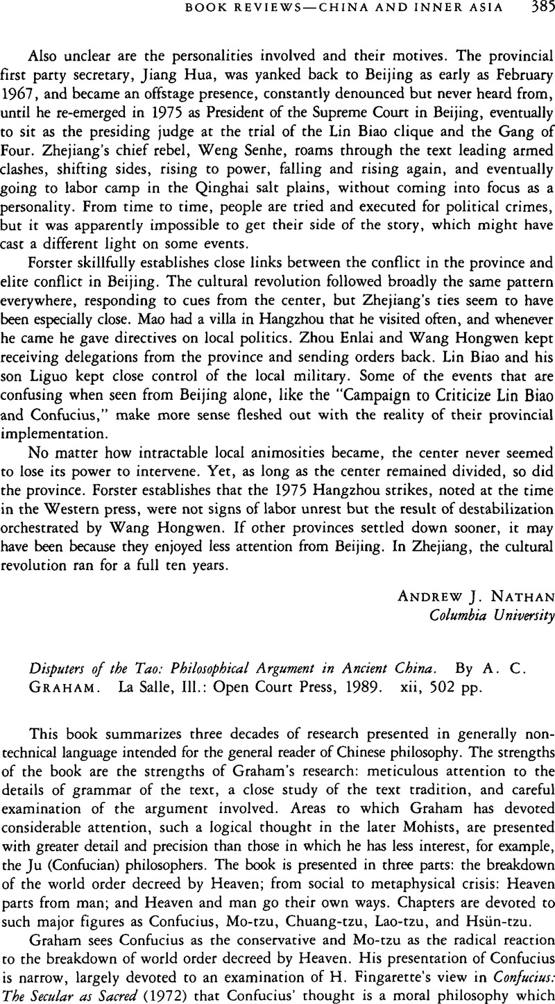 Philosophical Argument in Ancient China Disputers of the Tao