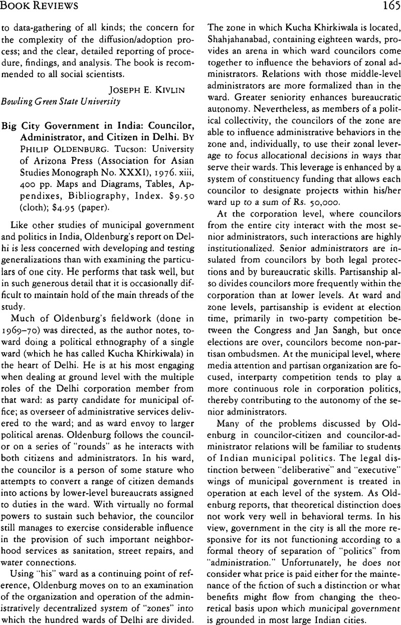 Big City Government in India: Councilor, Administrator, and Citizen