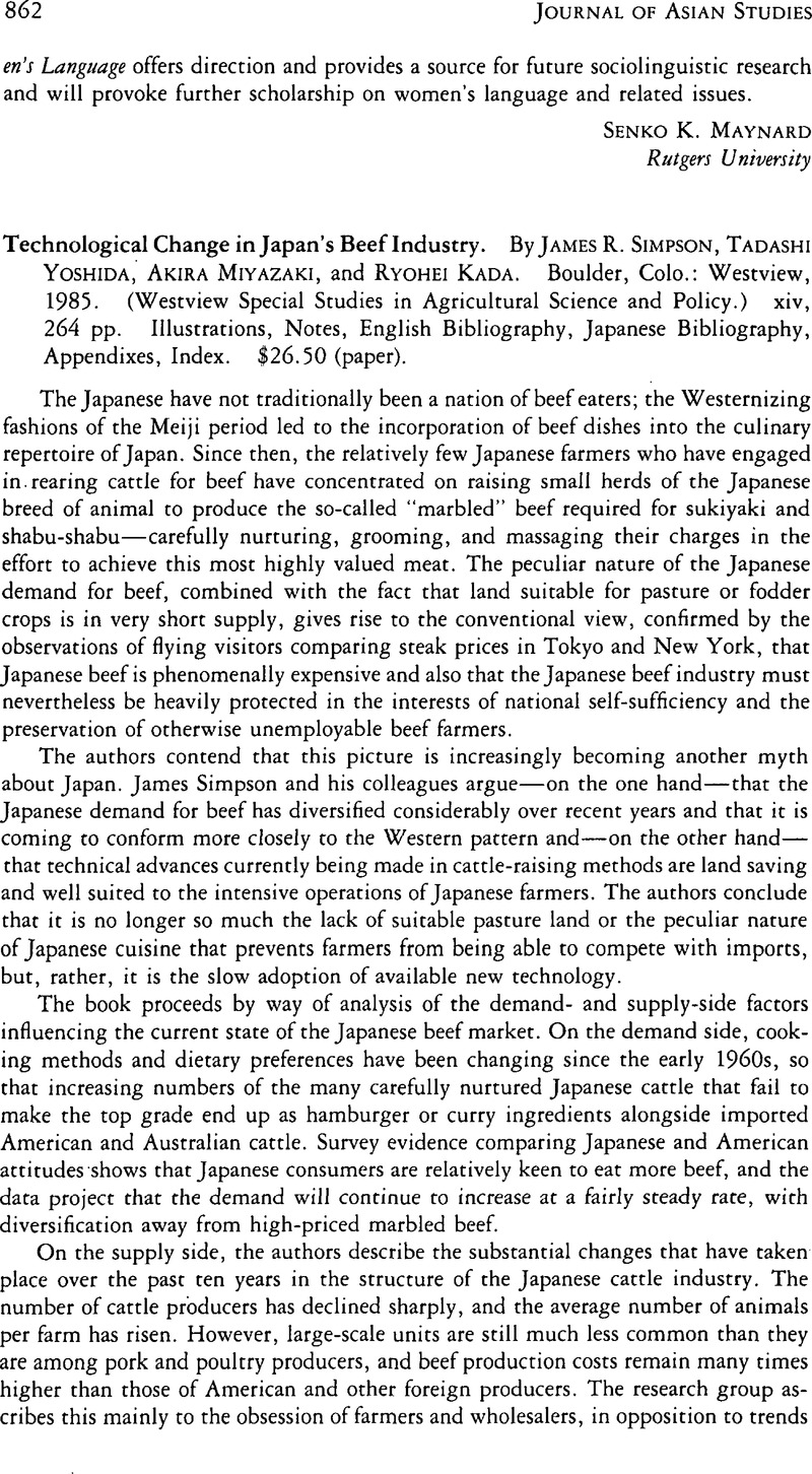 Technological Change in Japan's Beef Industry  By James R  Simpson