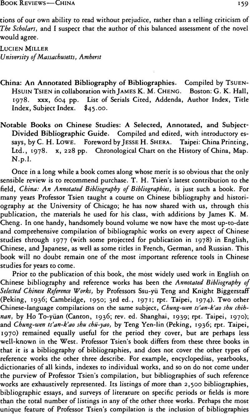 China: An Annotated Bibliography of Bibliographies  Compiled