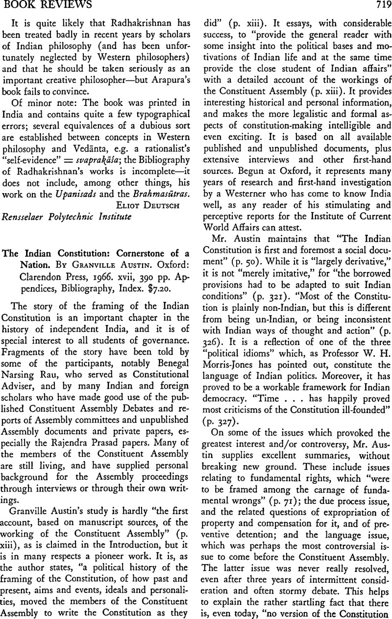 The Indian Constitution Cornerstone Of A Nation By Granville Austin Oxford Clarendon Press 1966 Xvii 390 Pp Appendices Bibliography Index 7 20 The Journal Of Asian Studies Cambridge Core