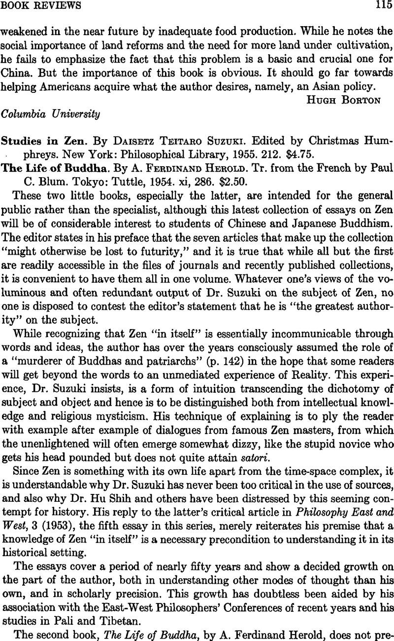 Studies in Zen. By Suzuki Daisetz Teitaro. Edited by Humphreys ...