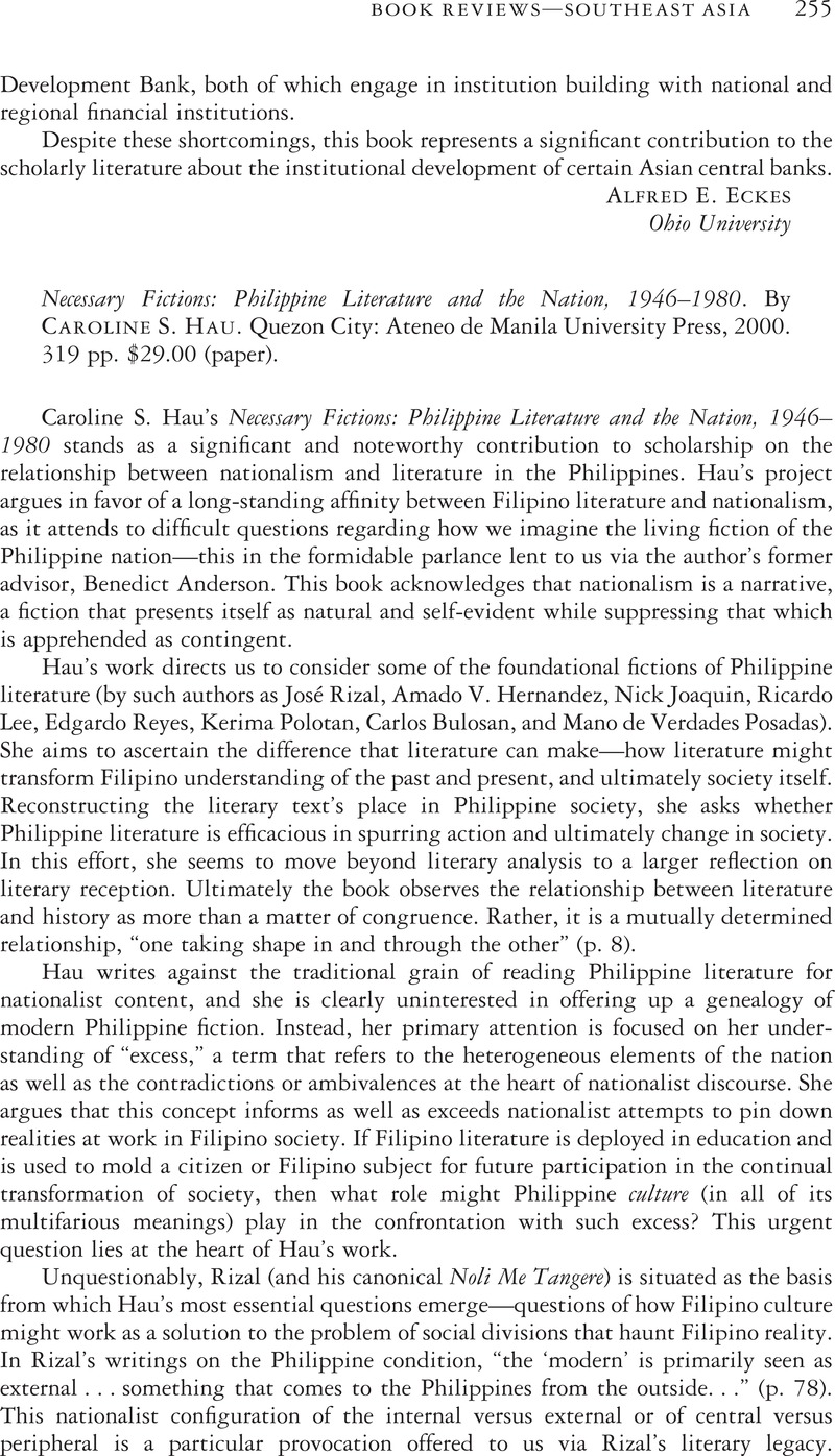Necessary Fictions: Philippine Literature and the Nation, 1946–1980
