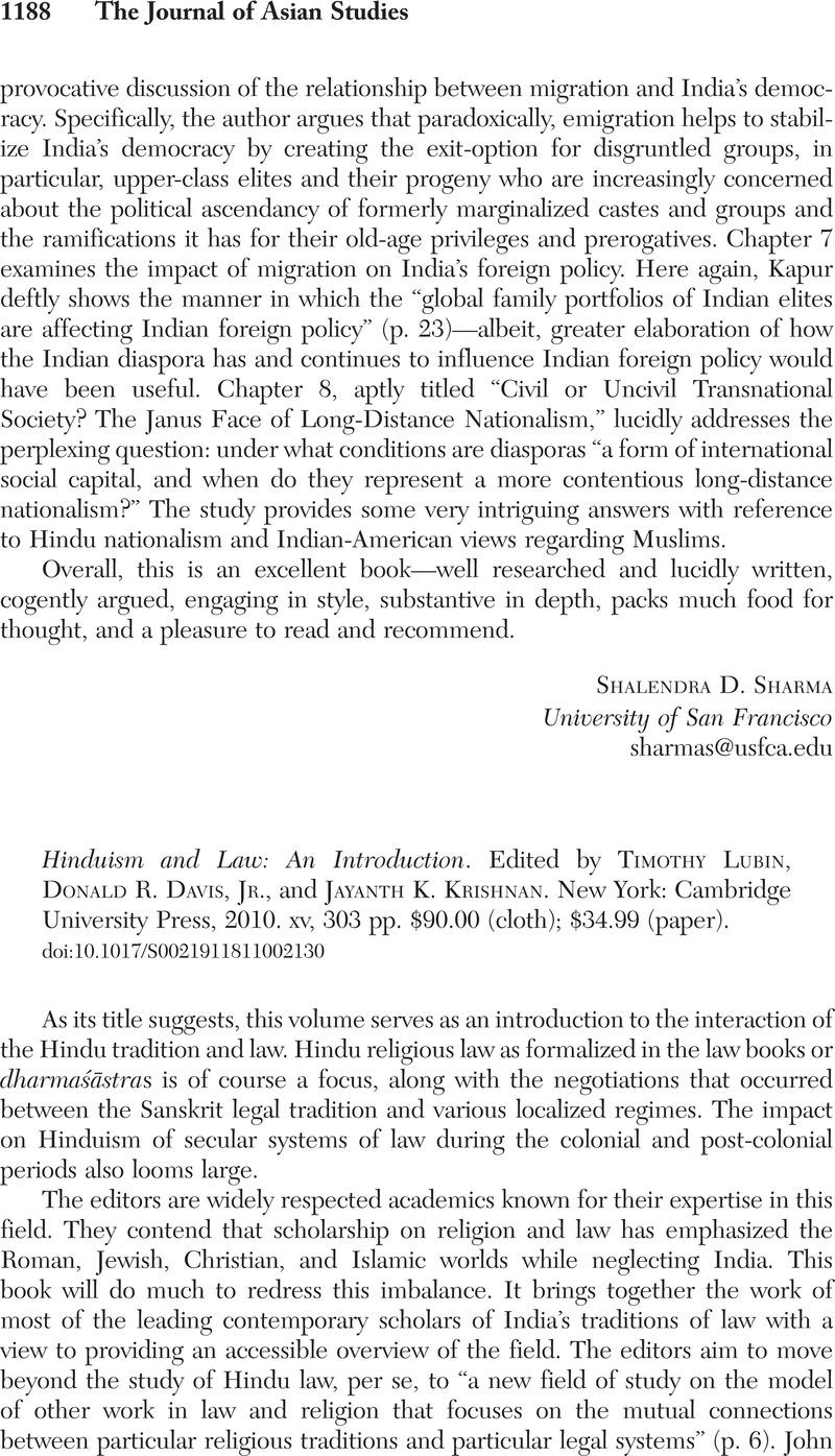 hinduism and law lubin timothy krishnan jayanth k davis jr donald r