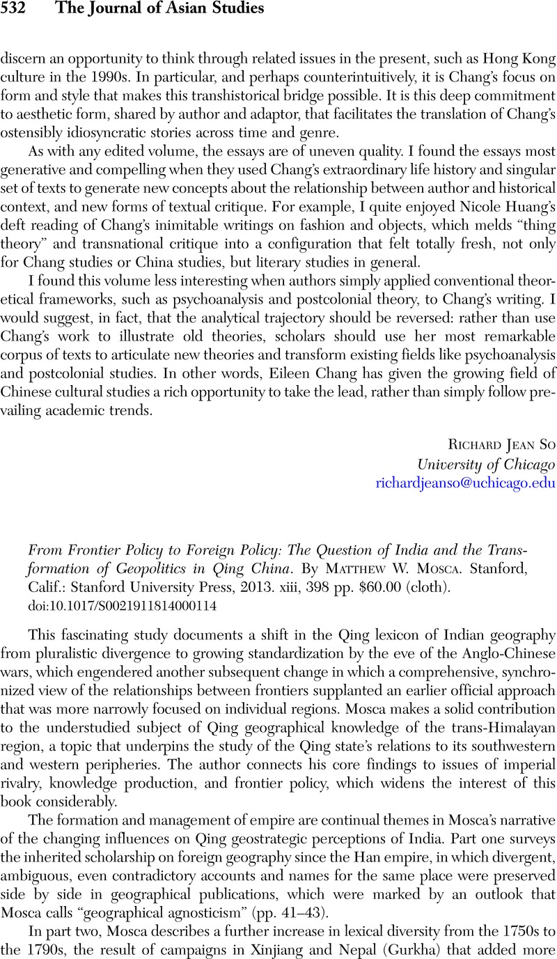 From Frontier Policy to Foreign Policy: The Question of India and the  Transformation of Geopolitics in Qing China. By Matthew W. Mosca. Stanford,  Calif.