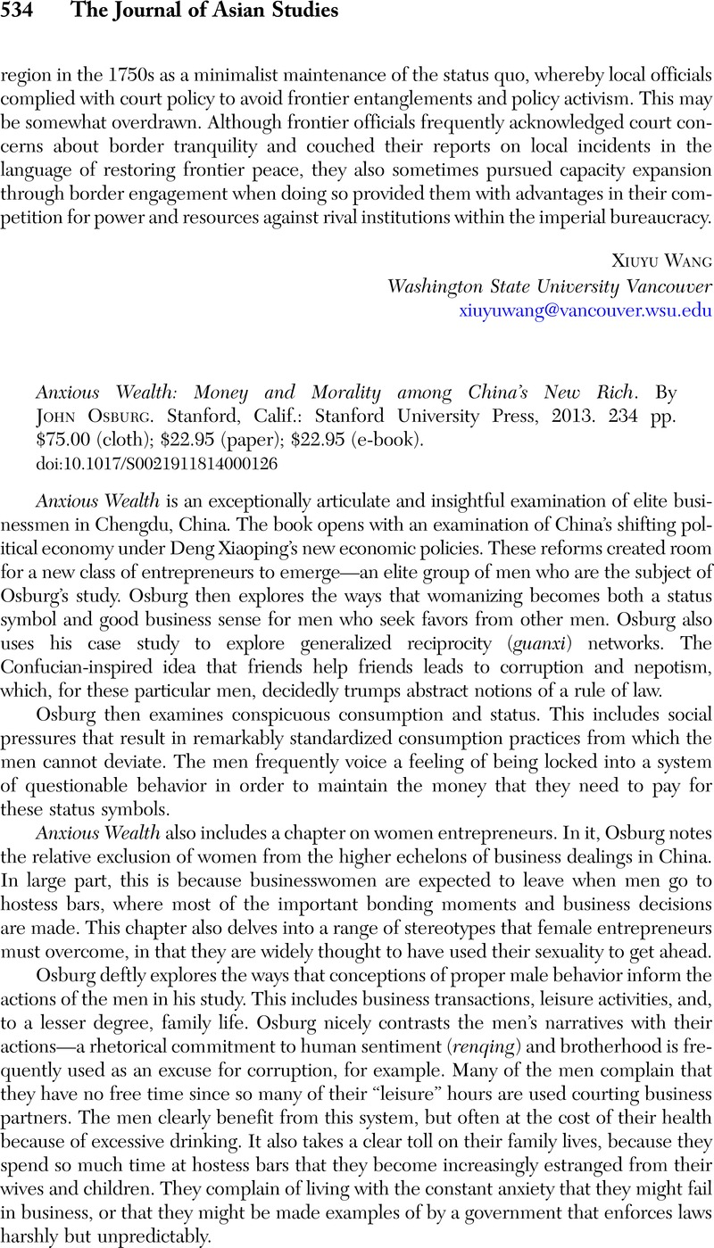 Anxious Wealth: Money and Morality among China's New Rich. By John Osburg.  Stanford, Calif.: Stanford University Press, 2013. 234 pp.