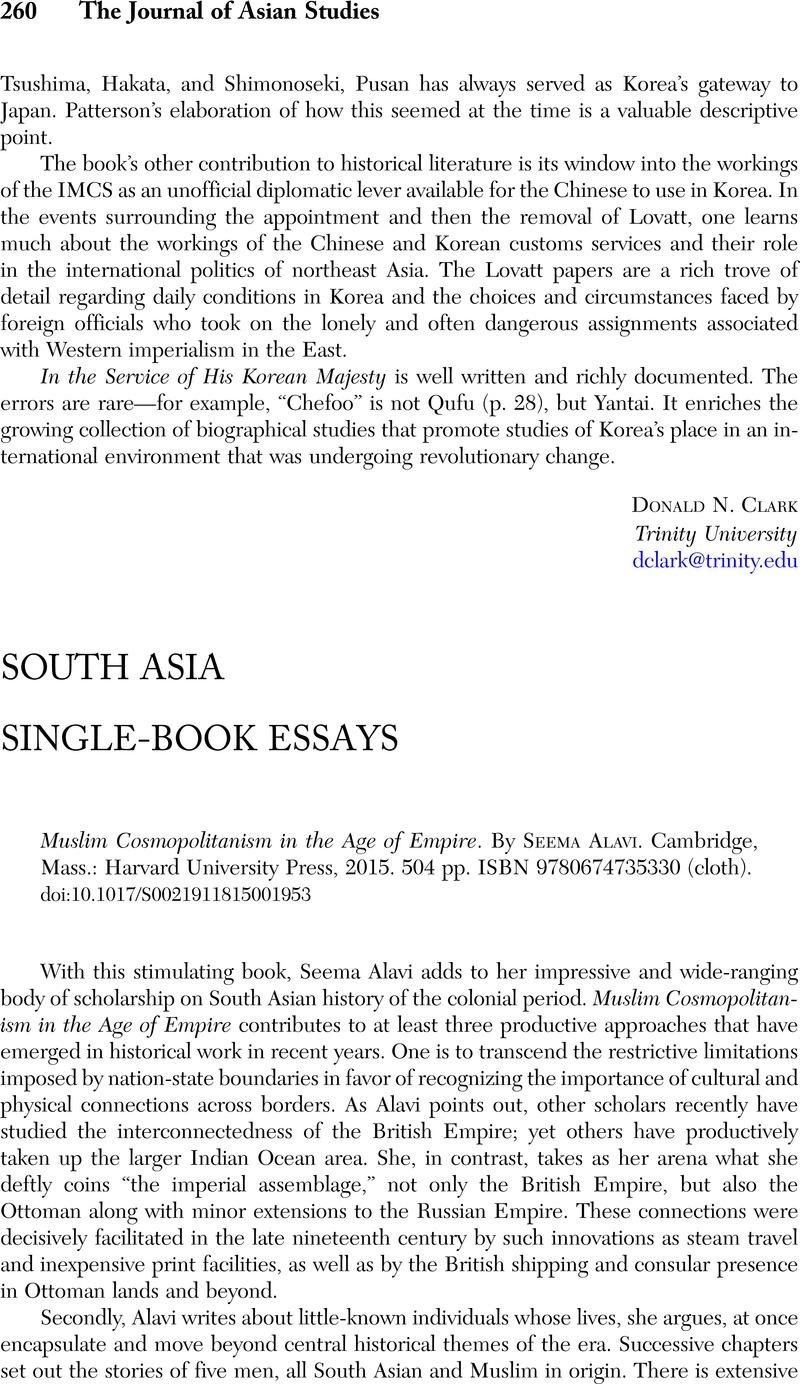 Muslim Cosmopolitanism in the Age of Empire  By Seema Alavi