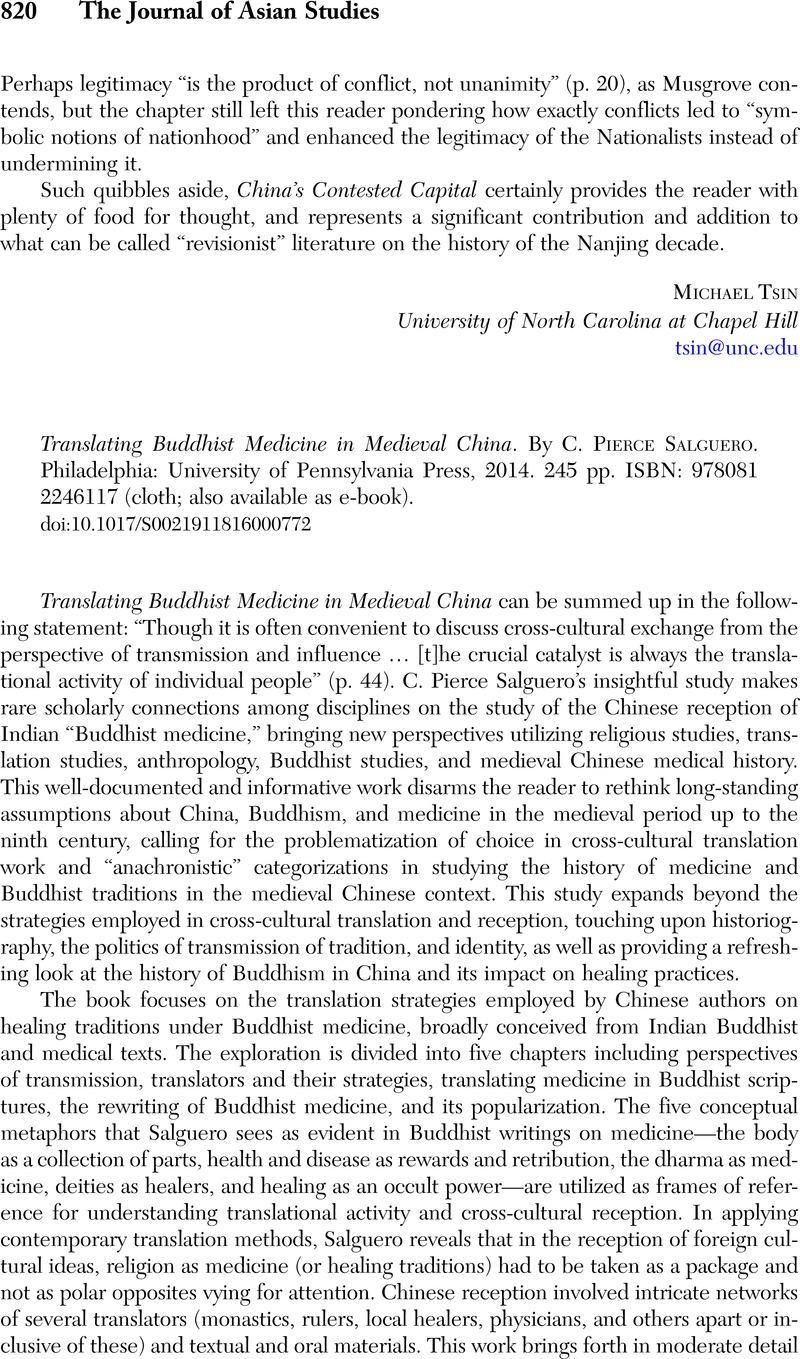 Translating Buddhist Medicine in Medieval China. By C. Pierce Salguero .  Philadelphia: University of Pennsylvania Press, 2014. 245 pp.