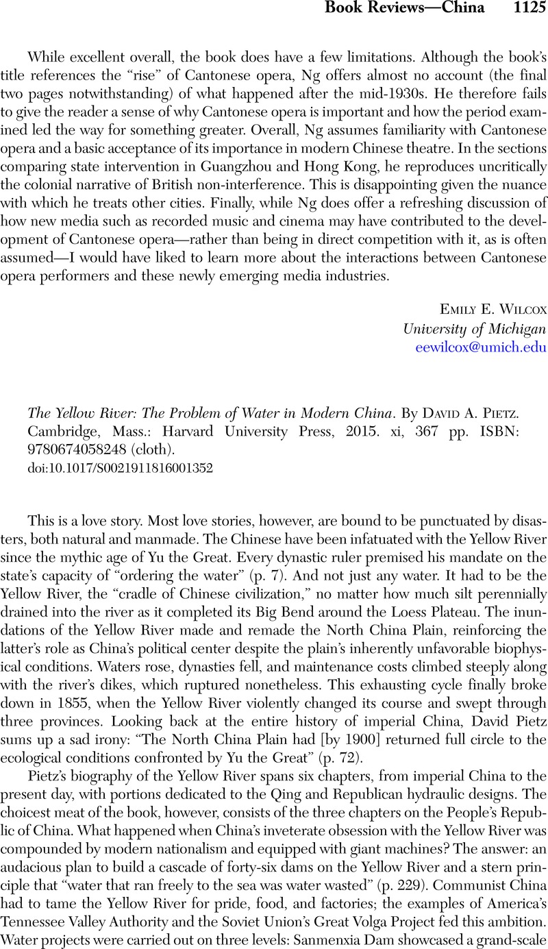 The Yellow River: The Problem of Water in Modern China. By David A. Pietz .  Cambridge, Mass.: Harvard University Press, 2015. xi, 367 pp.