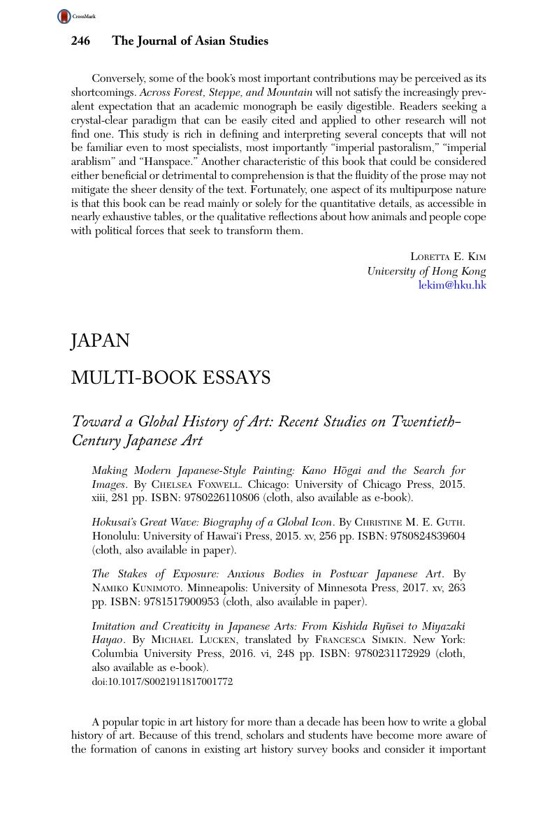 Toward a Global History of Art: Recent Studies on Twentieth