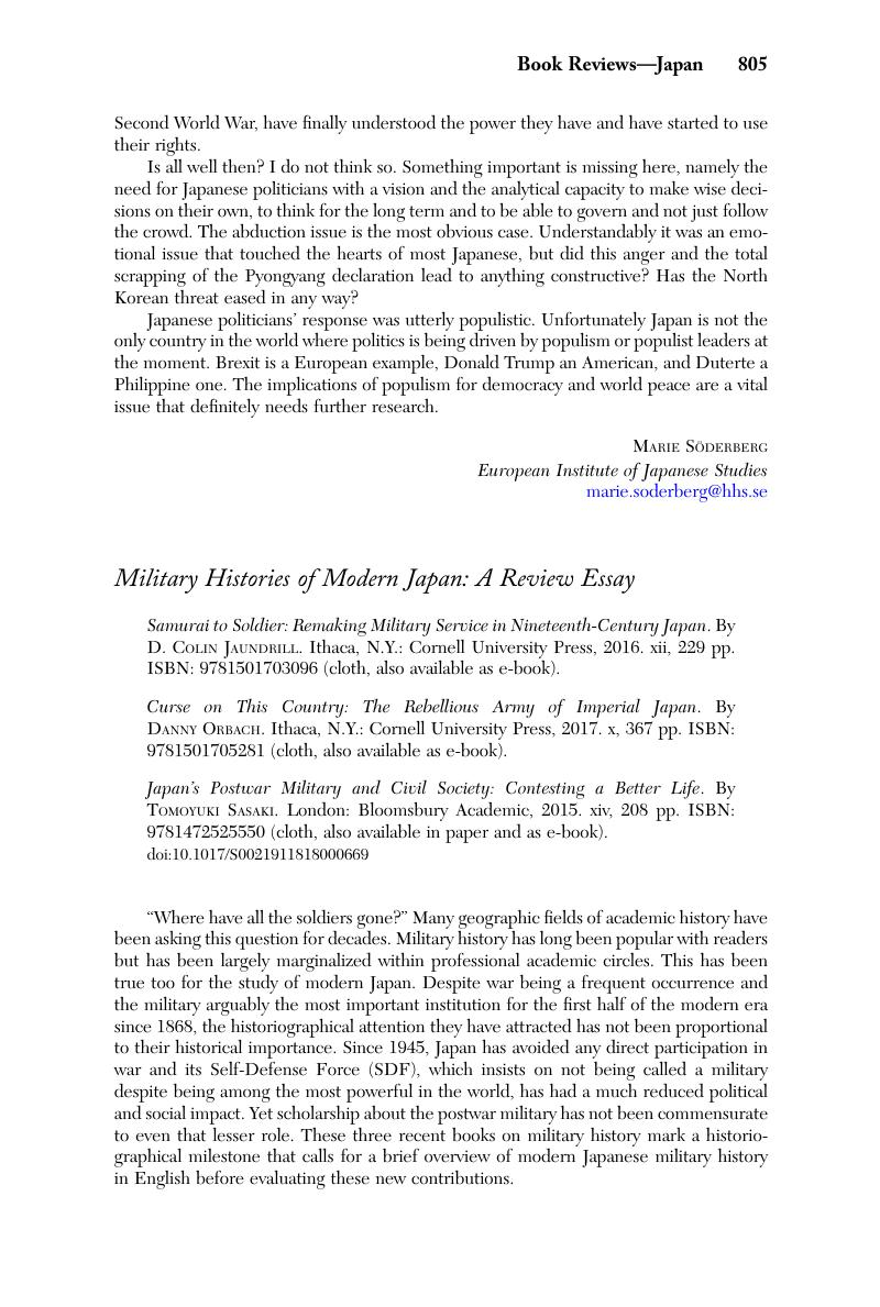 military histories of modern japan a review essay  samurai to  copyright
