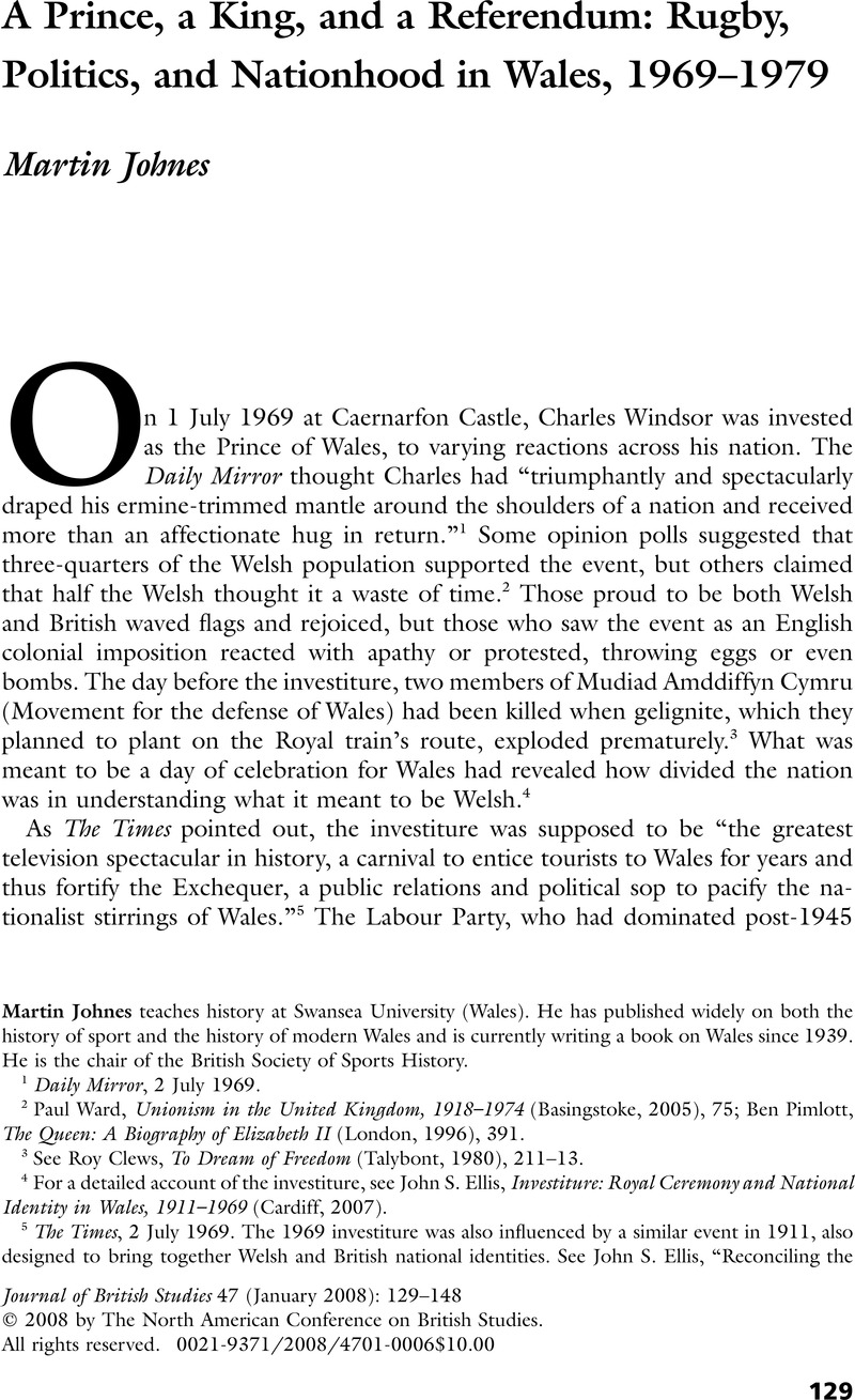 A Prince King And Referendum Rugby Politics Nationhood In Wales 1969 1979
