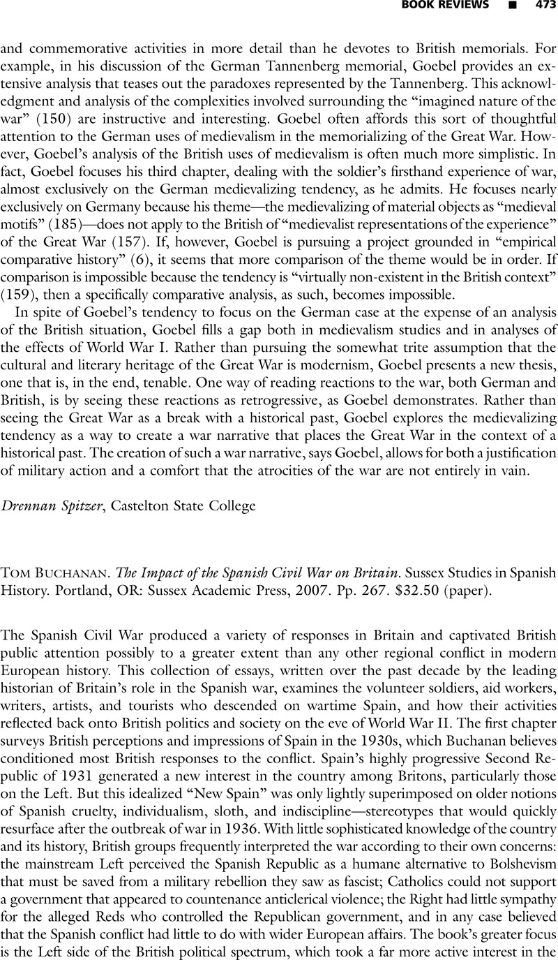 Tom Buchanan  The Impact of the Spanish Civil War on Britain