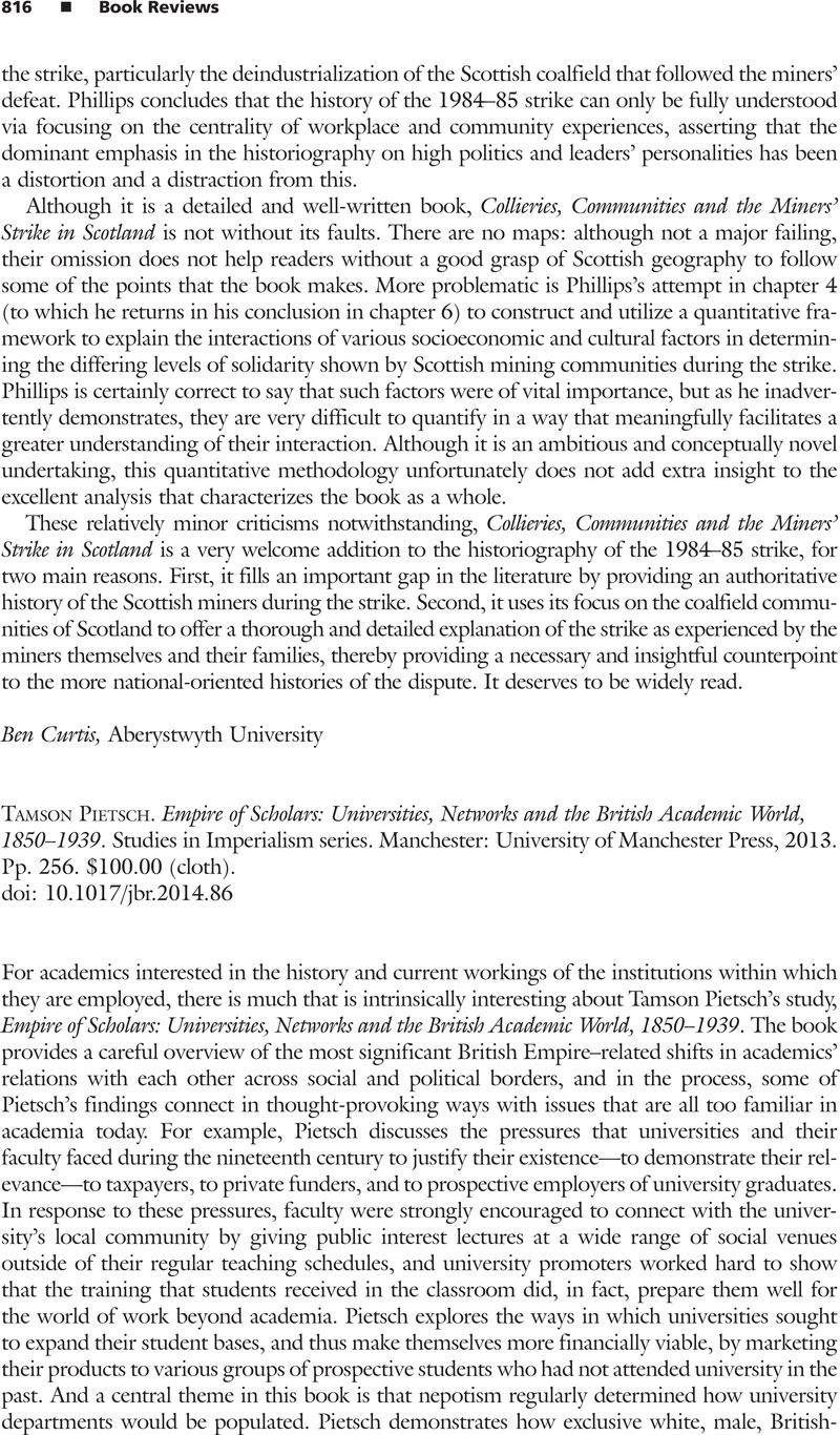 empire of scholars universities networks and the british academic world 18501939 studies in imperialism