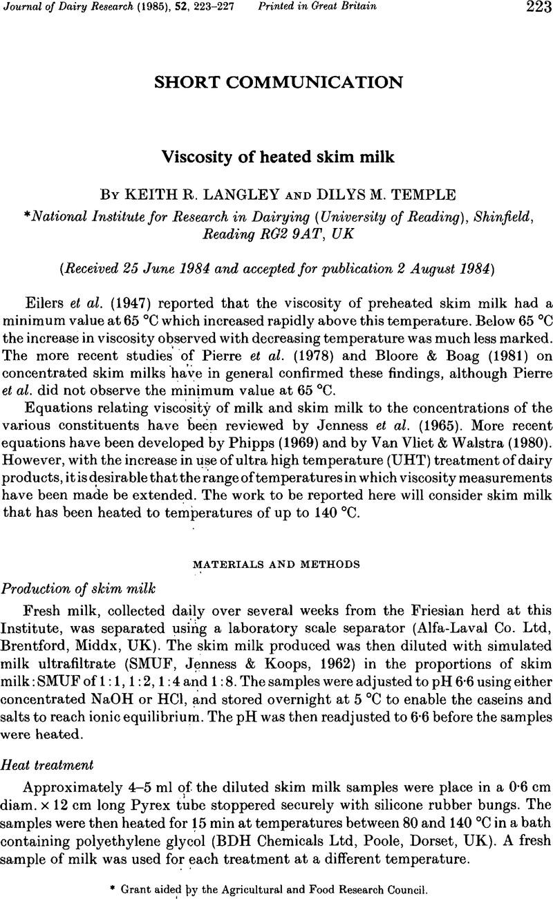 Viscosity of heated skim milk | Journal of Dairy Research