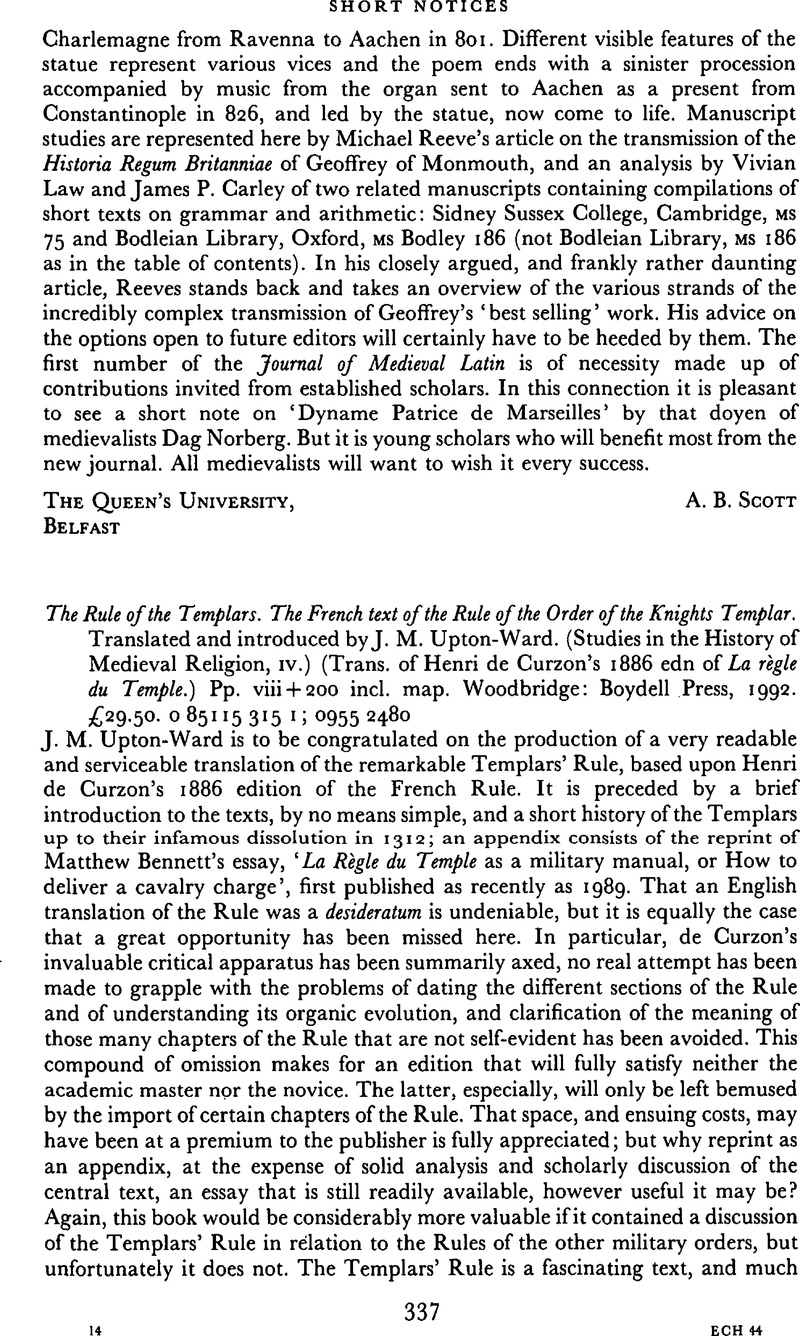 The French Text of the Rule of the Order of Knights Templar Rule of the Templars