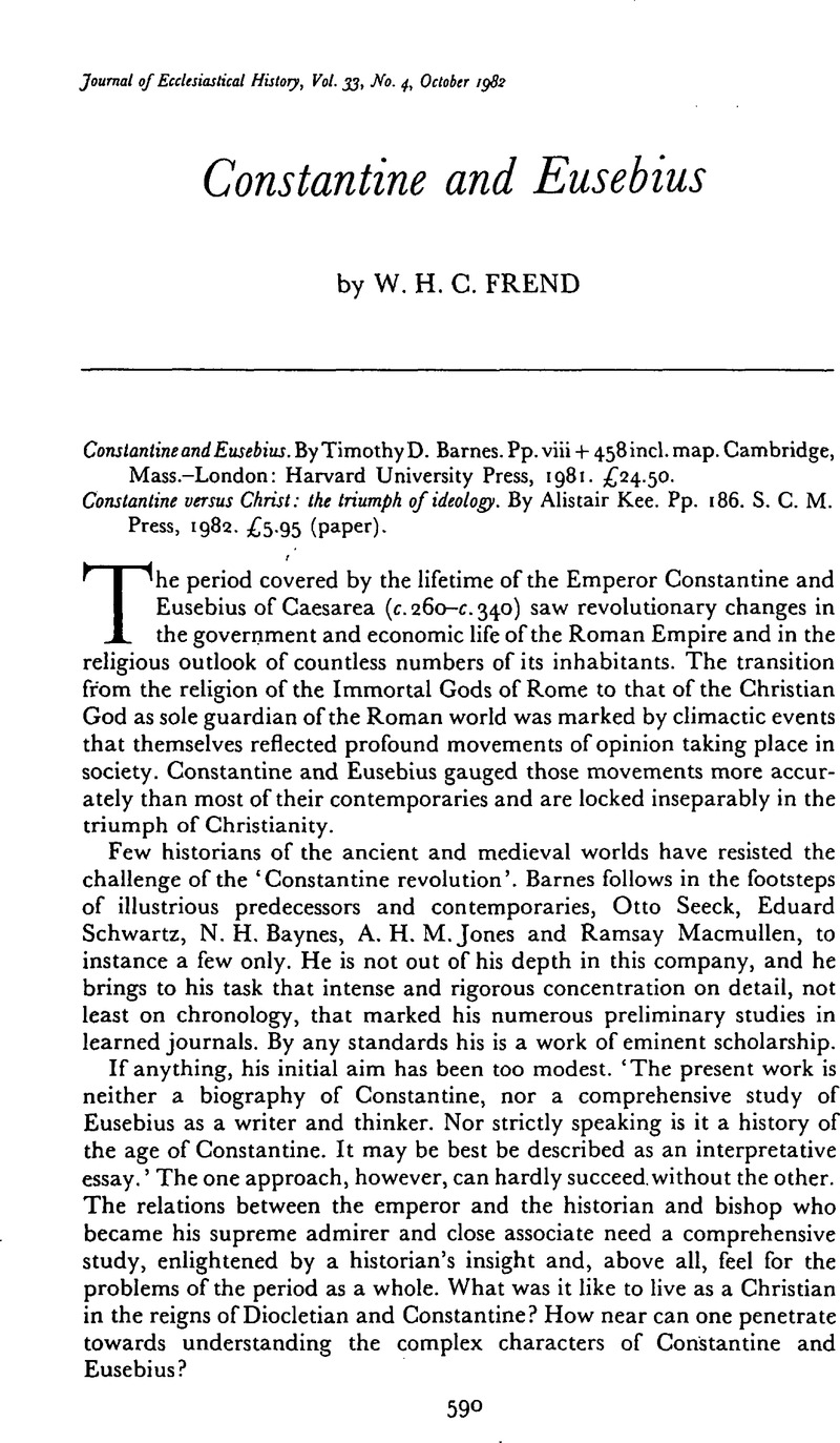 constantine and eusebius the journal of ecclesiastical historycopyright