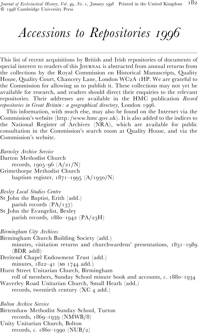 Accessions to Repositories 1996 | The Journal of