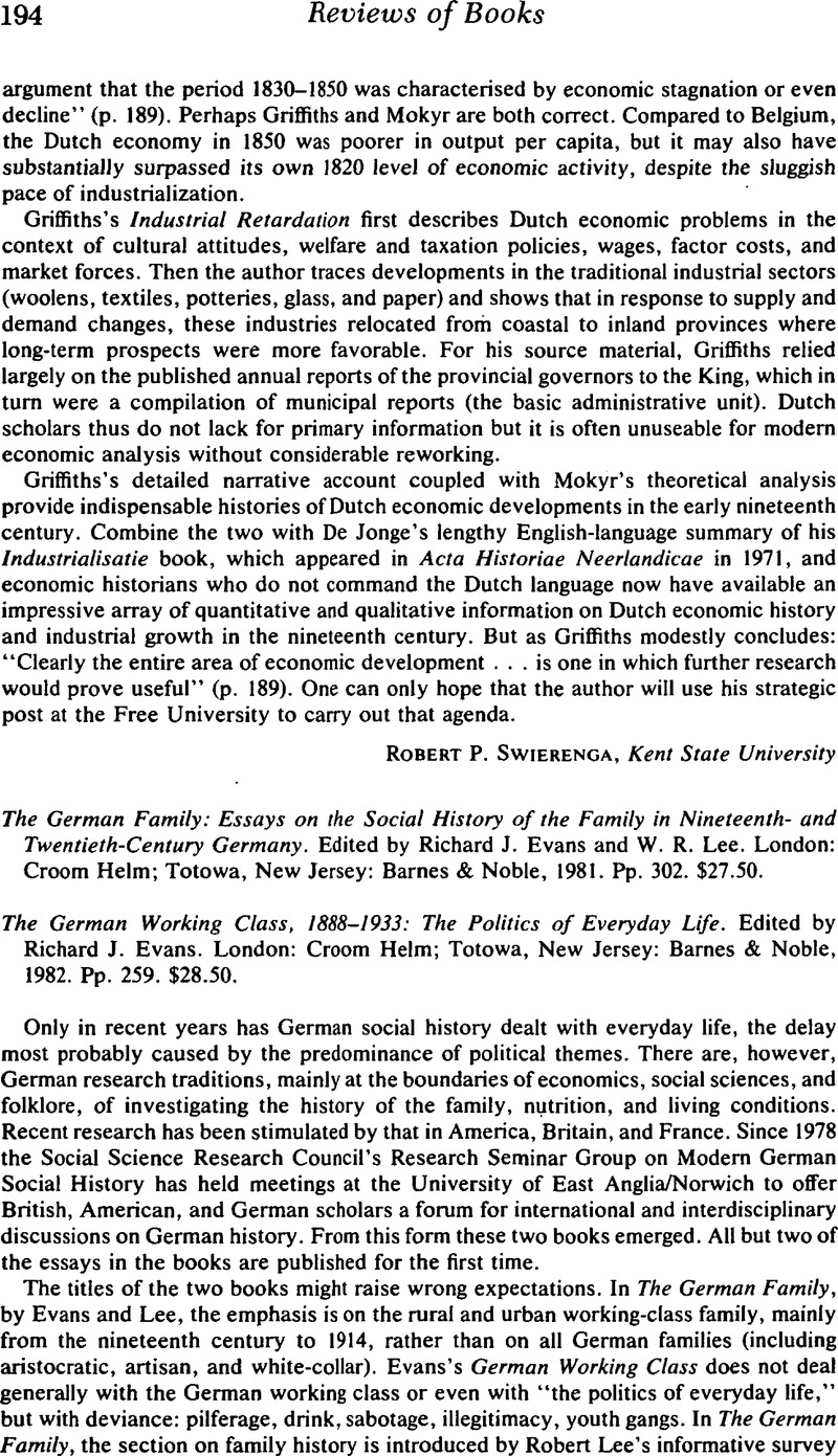 The German Family: Essays on the Social History of the