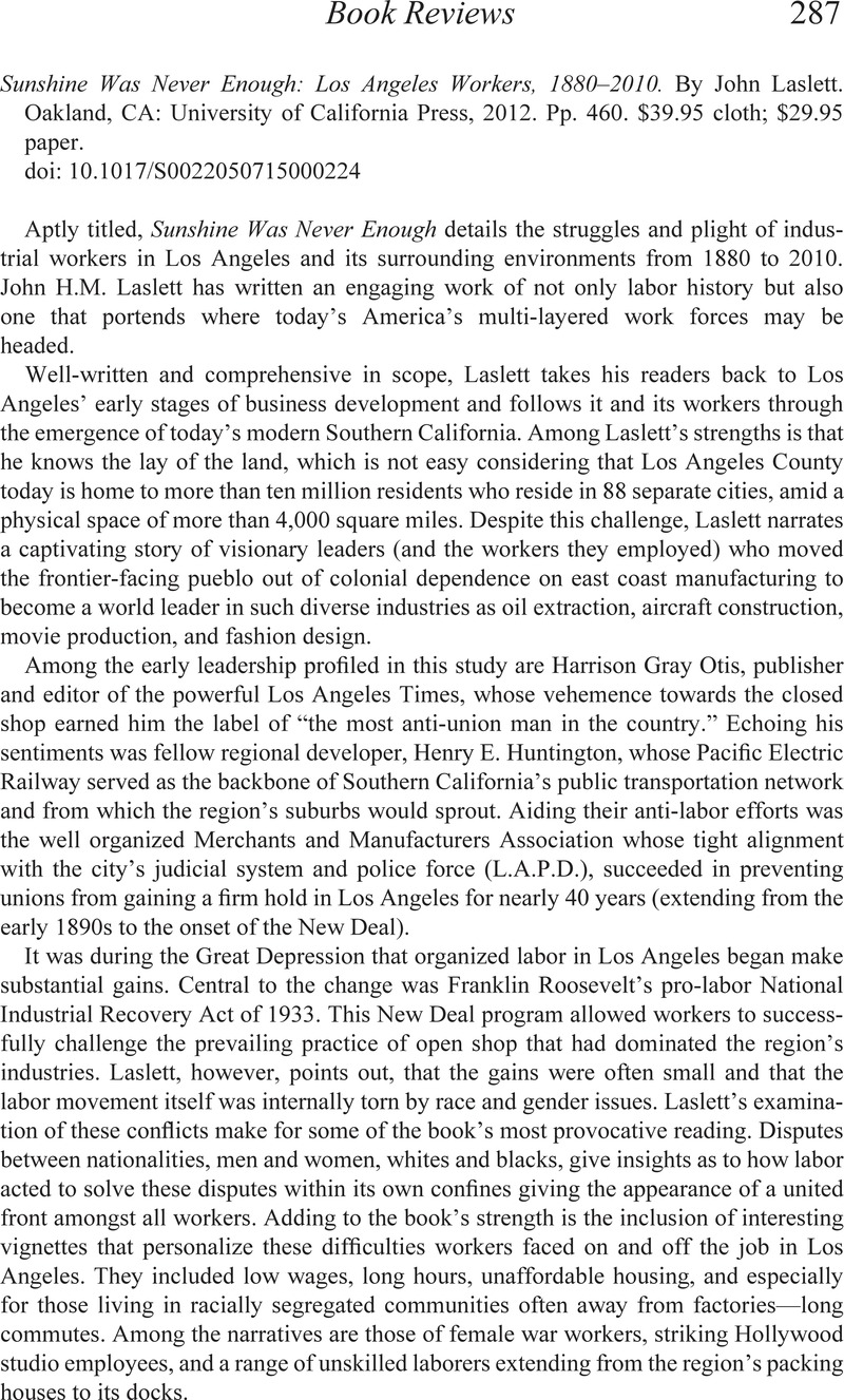 Sunshine Was Never Enough: Los Angeles Workers, 1880–2010