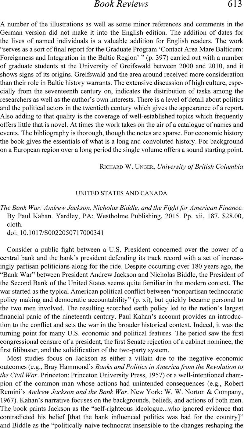The Bank War Andrew Jackson Nicholas Biddle And The Fight For American Finance By Yardley Paul Kahan Pa Westholme Publishing 2015 Pp Xii 187 28 00 Cloth The Journal Of Economic History Cambridge Core