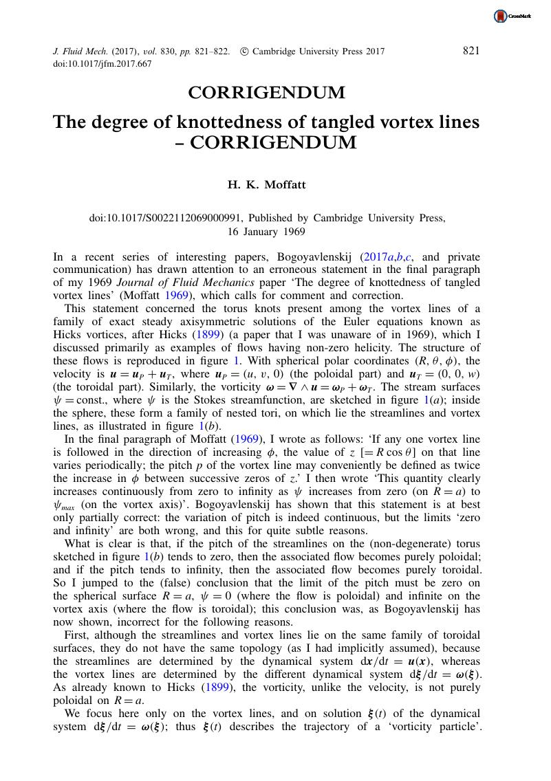 The degree of knottedness of tangled vortex lines – CORRIGENDUM