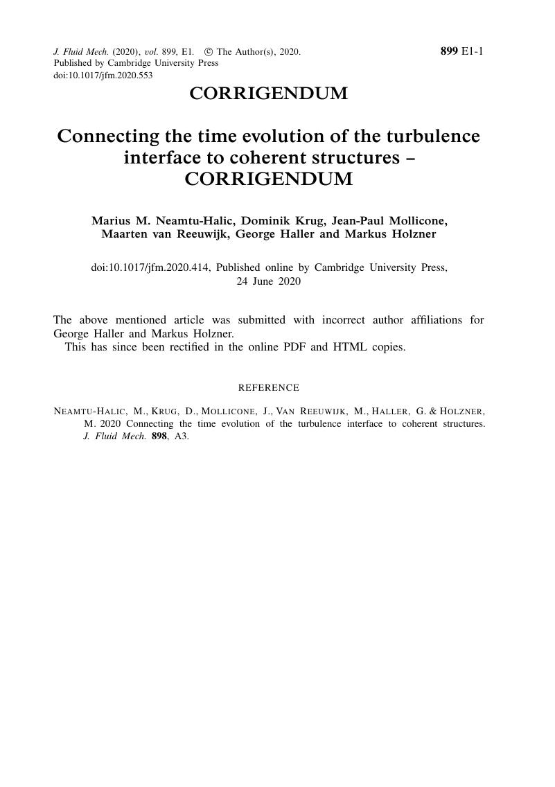connecting the time evolution of the turbulence interface to coherent structures corrigendum journal of fluid mechanics cambridge core connecting the time evolution of the