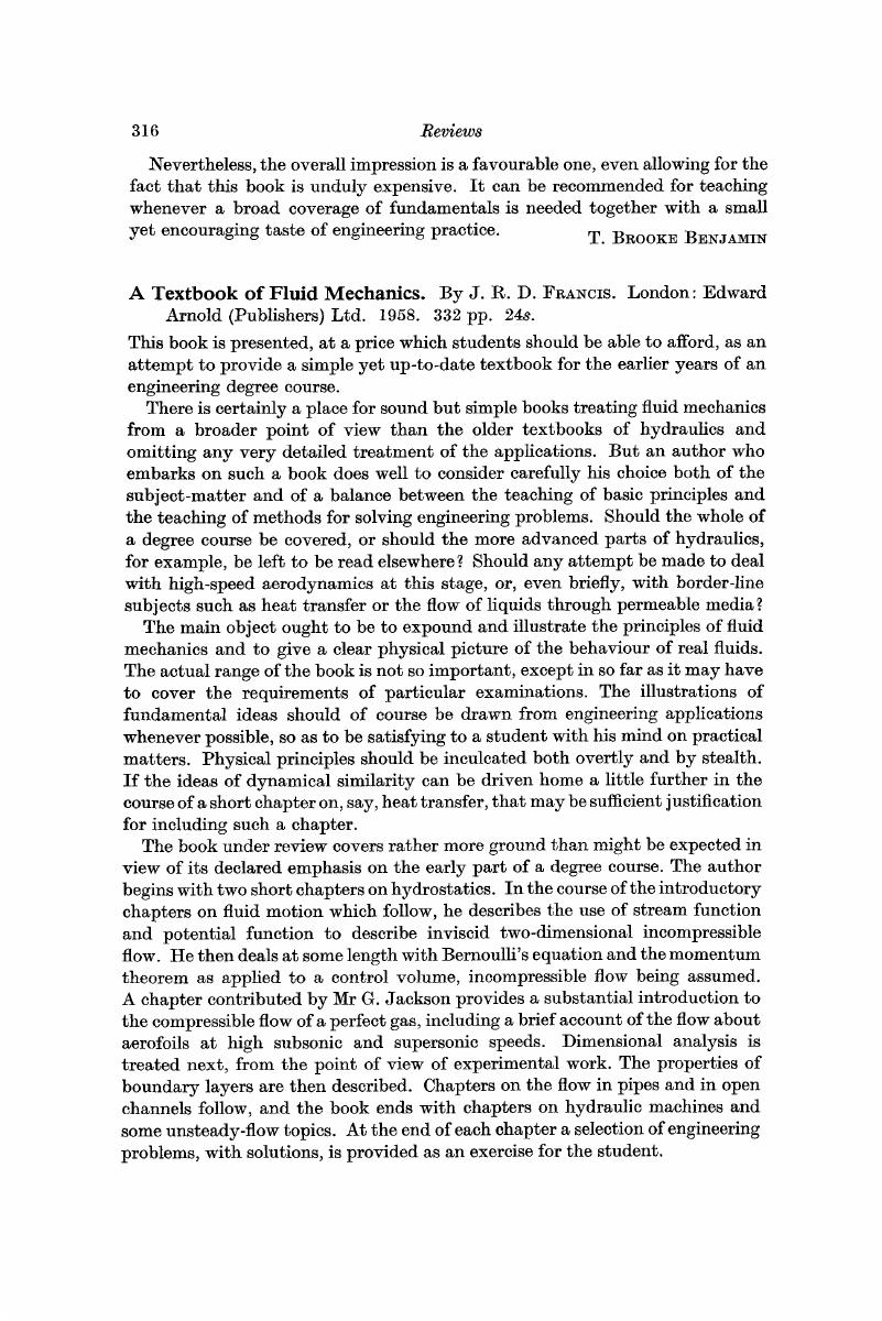 A Textbook of Fluid Mechanics  By J  R  D  FRANCIS  London: Edward