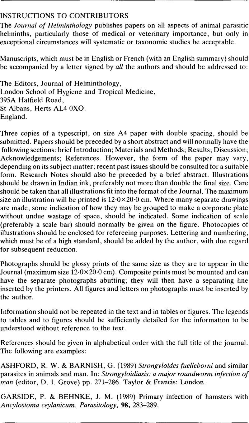 J helminthology, VIAF ID: (Personal)