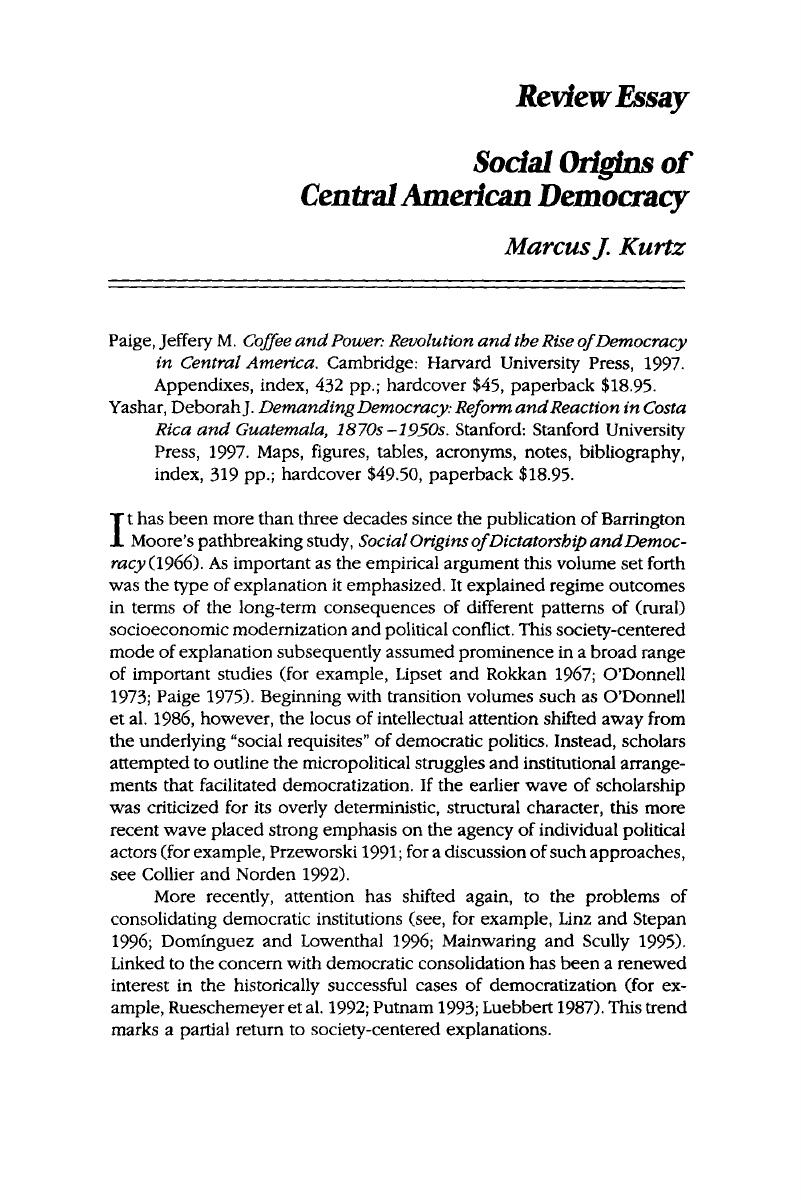 Topics For English Essays Copyright Model English Essays also Terrorism Essay In English Social Origins Of Central American Democracy  Journal Of  Research Essay Thesis Statement Example