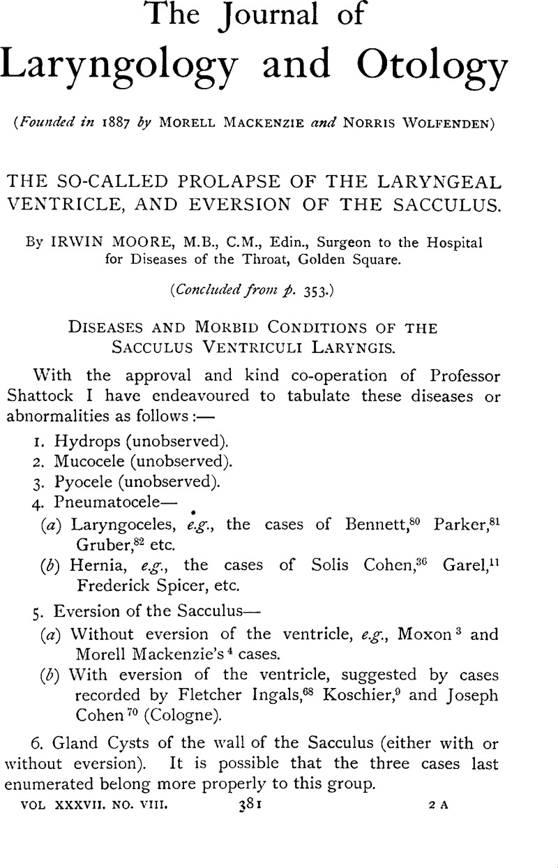 The So-Called prolapse of The Laryngeal Ventricle, and eversion of ...