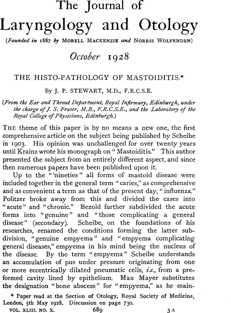 The Histo-Pathology of Mastoiditis* | The Journal of Laryngology ...